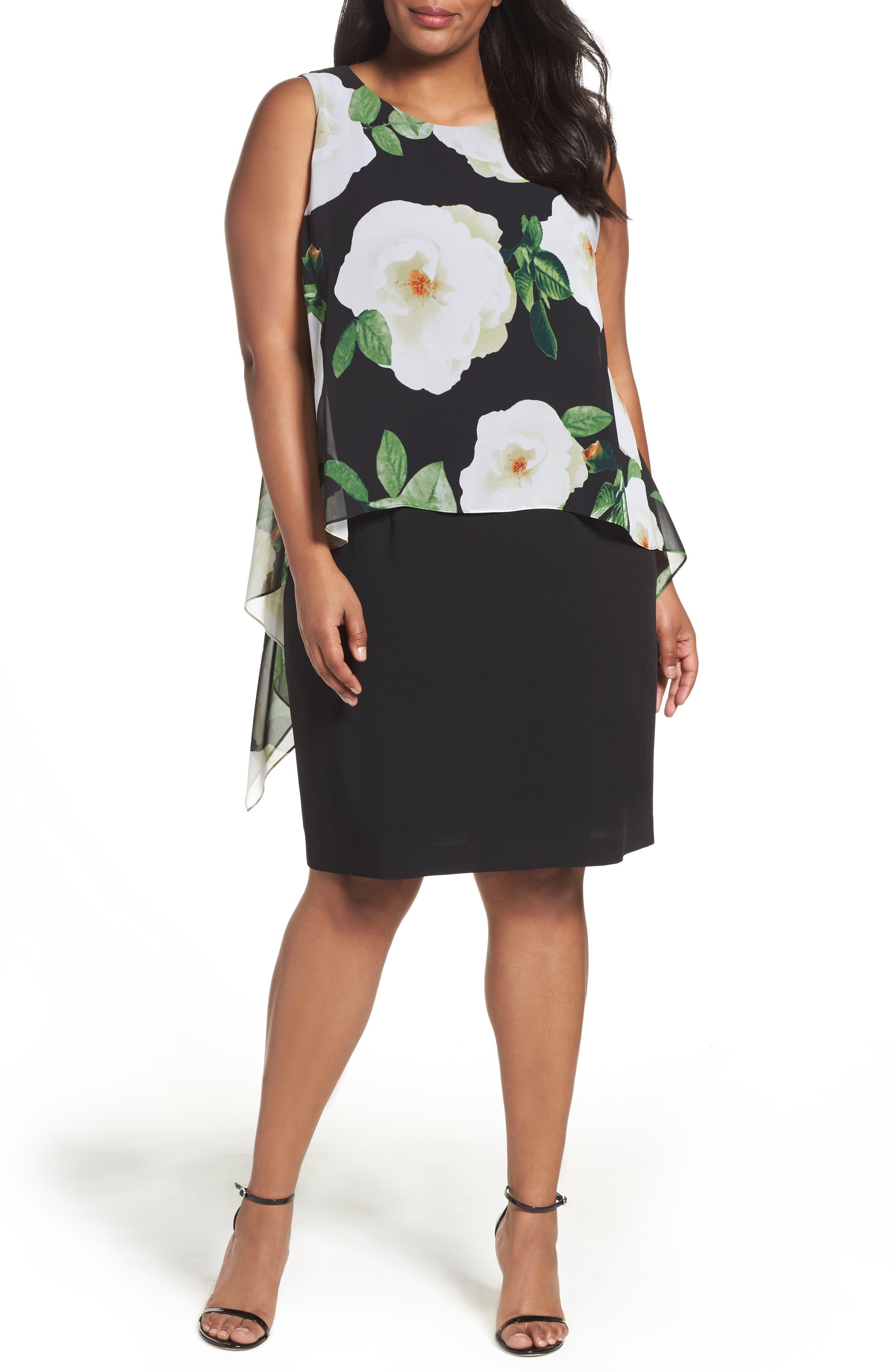Tahari Floral Popover Sheath Dress (Plus Size)