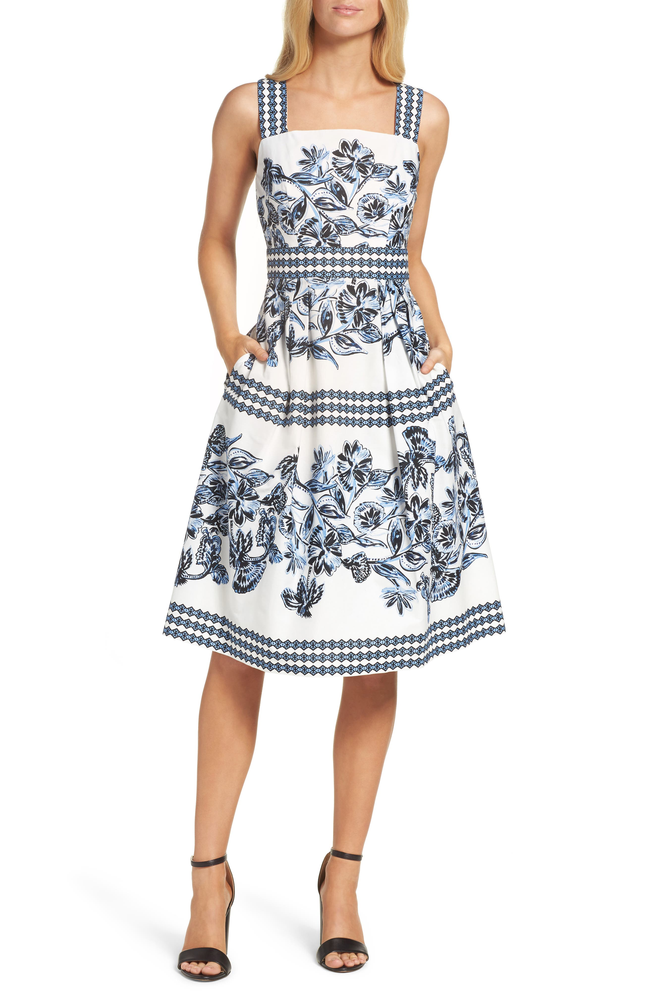 Alternate Image 1 Selected - Vince Camuto Fit & Flare Dress (Regular & Petite)