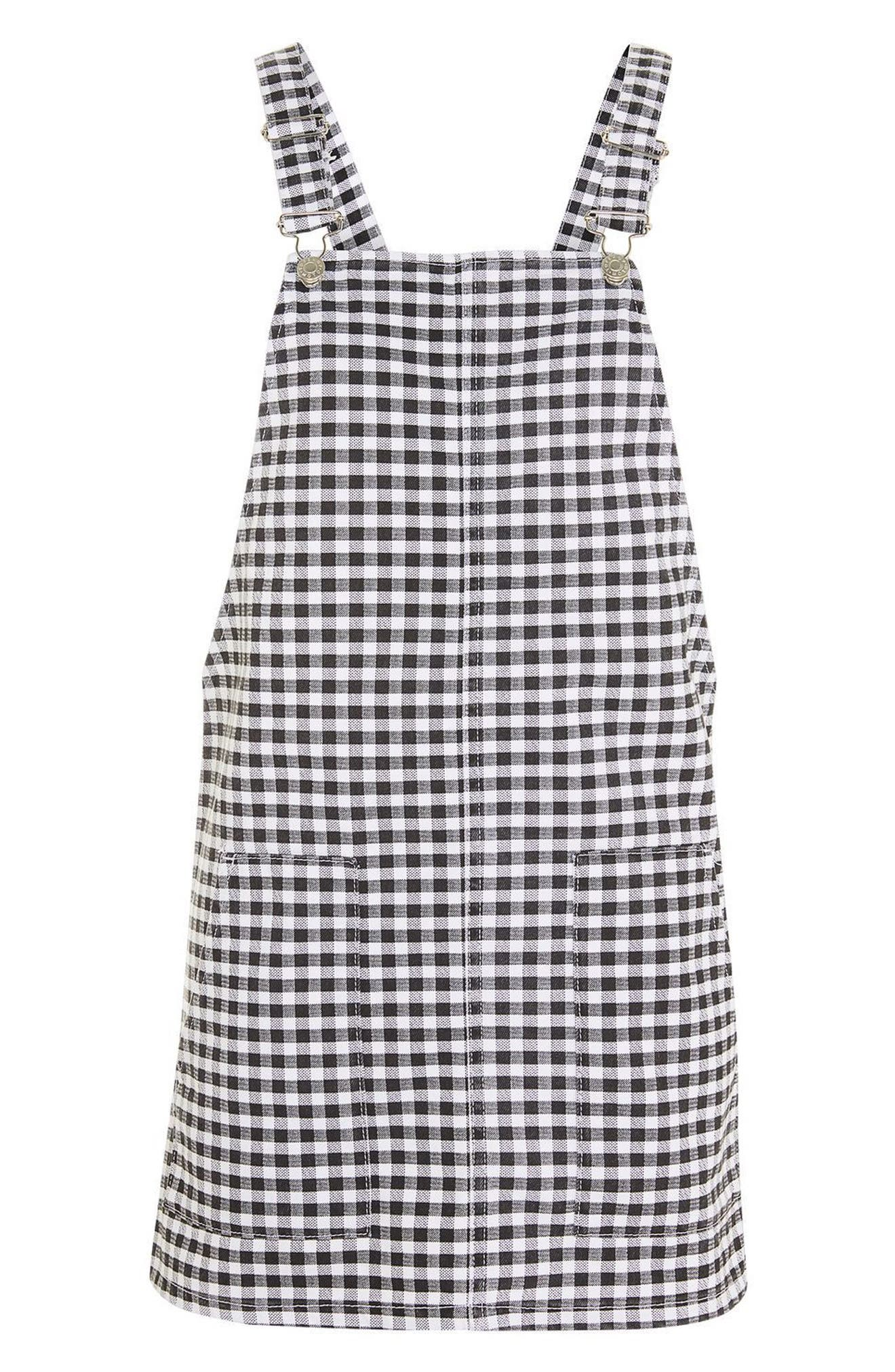 Alternate Image 4  - Topshop Gingham Pinafore Dress