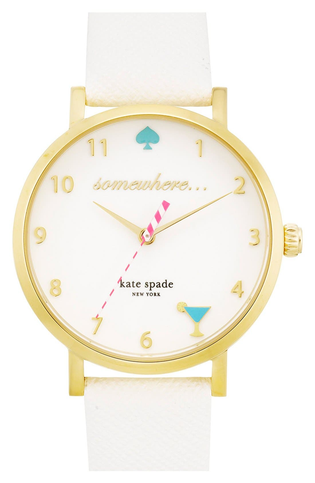 Main Image - kate spade new york 'metro - somewhere' leather strap watch, 34mm