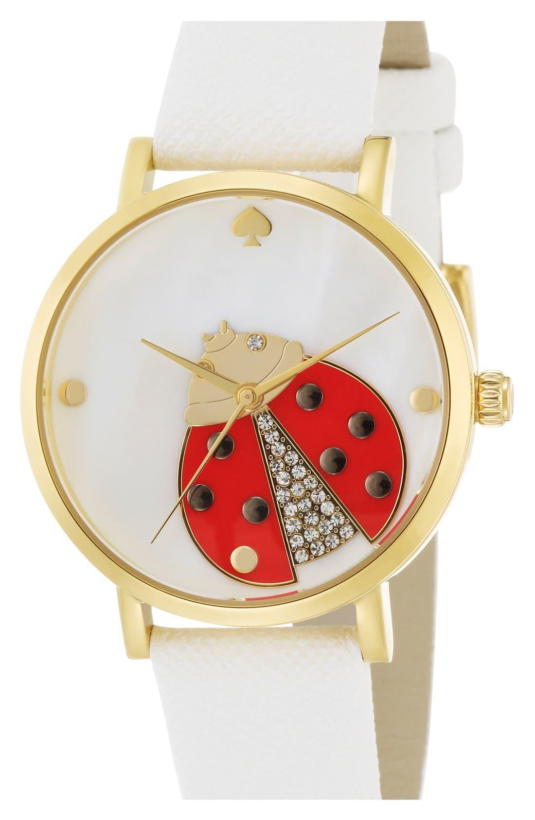 Alternate Image 4  - kate spade new york 'metro' ladybug dial leather strap watch, 34mm