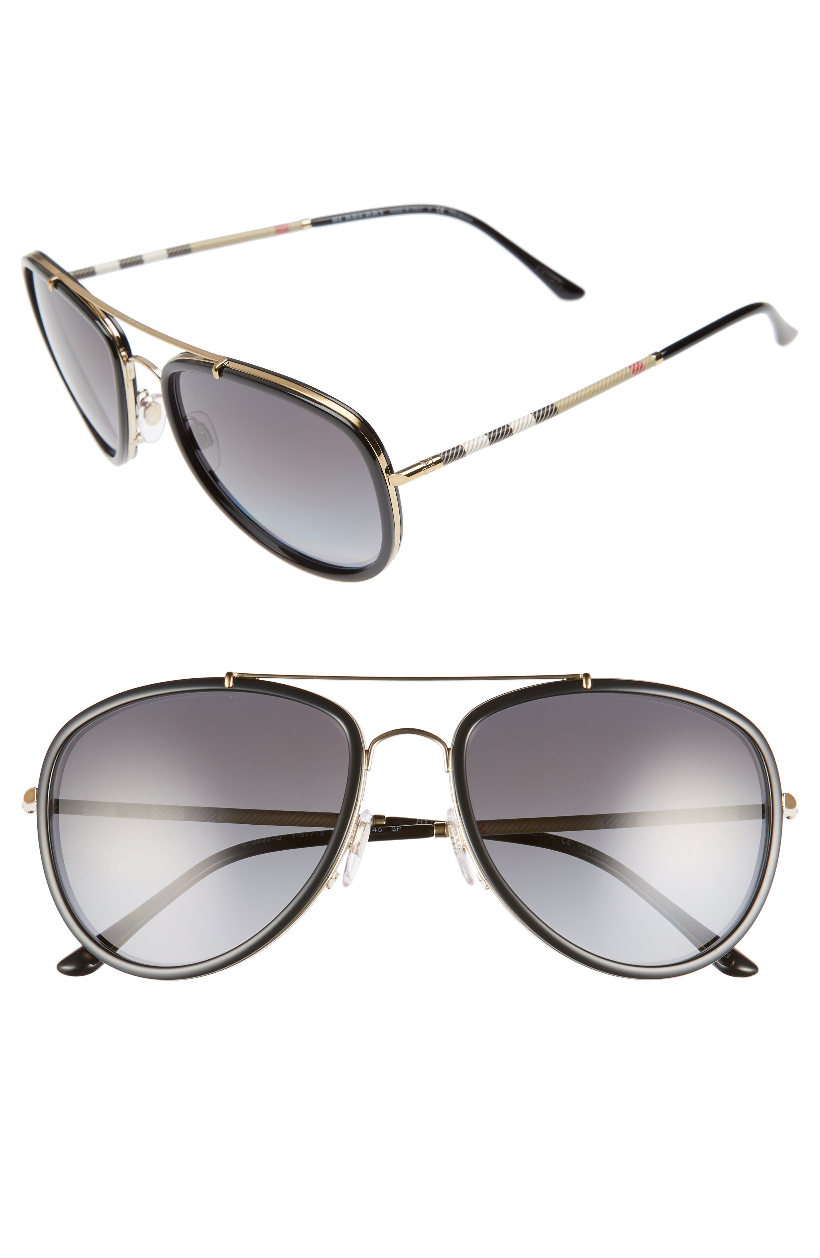Burberry 58mm Check Temple Pilot Sunglasses