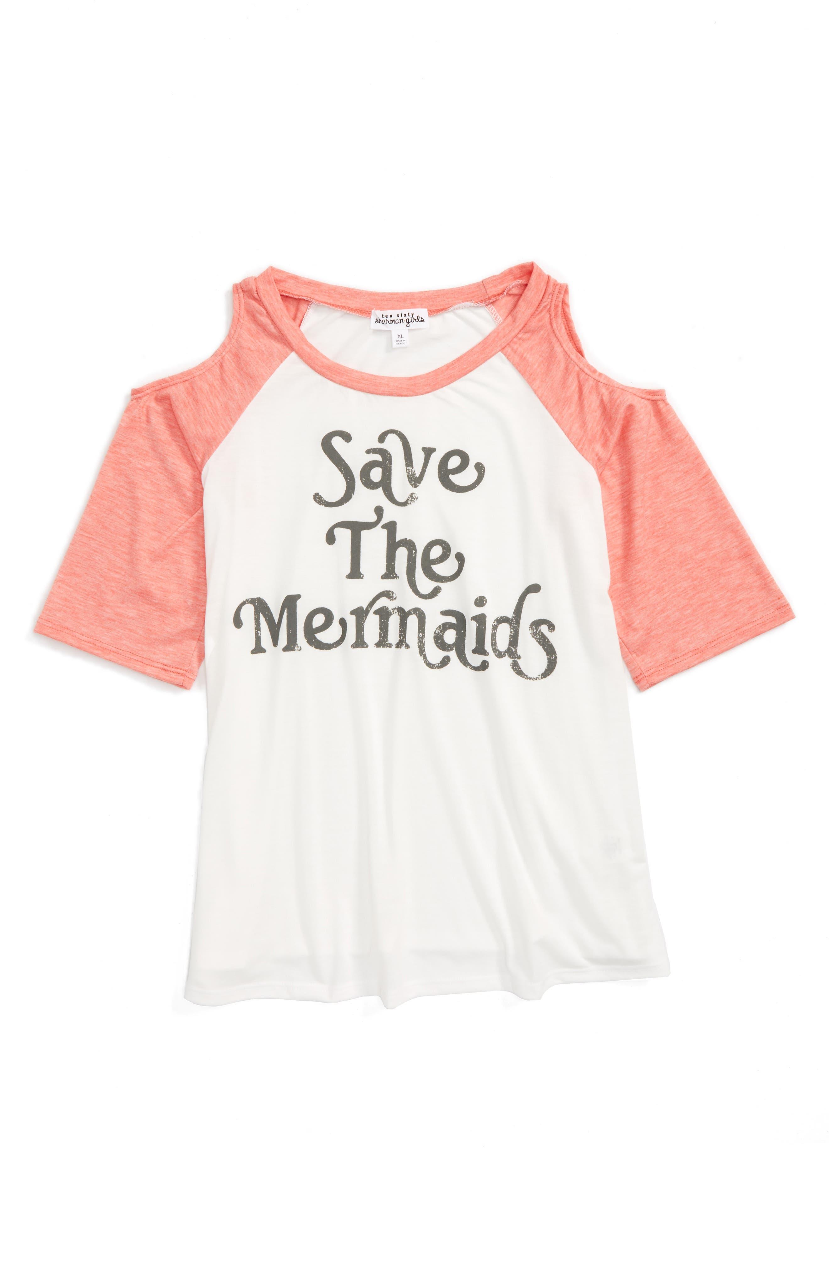 Ten Sixty Sherman Save the Mermaids Cold Shoulder Tee (Big Girls)