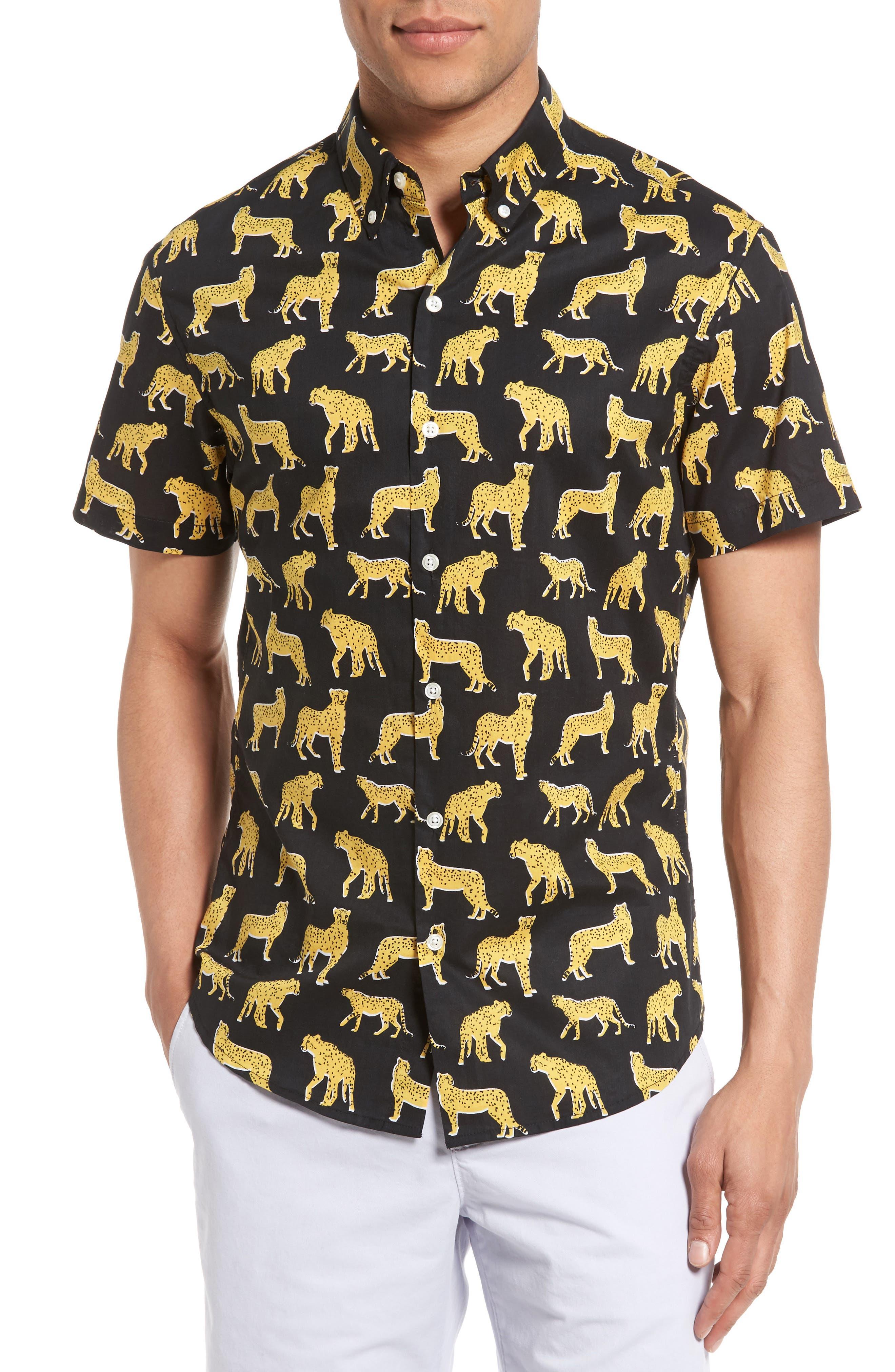 Bonobos Slim Fit Short Sleeve Cheetah Print Sport Shirt