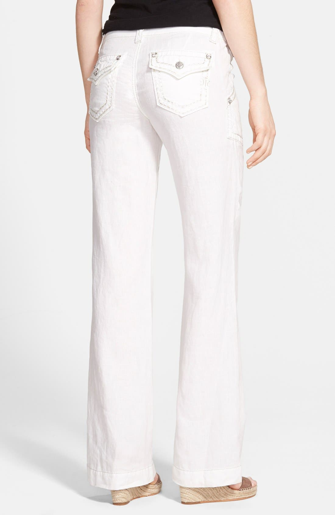 Alternate Image 2  - Miss Me Metallic Stitch Wide Leg Linen Pants