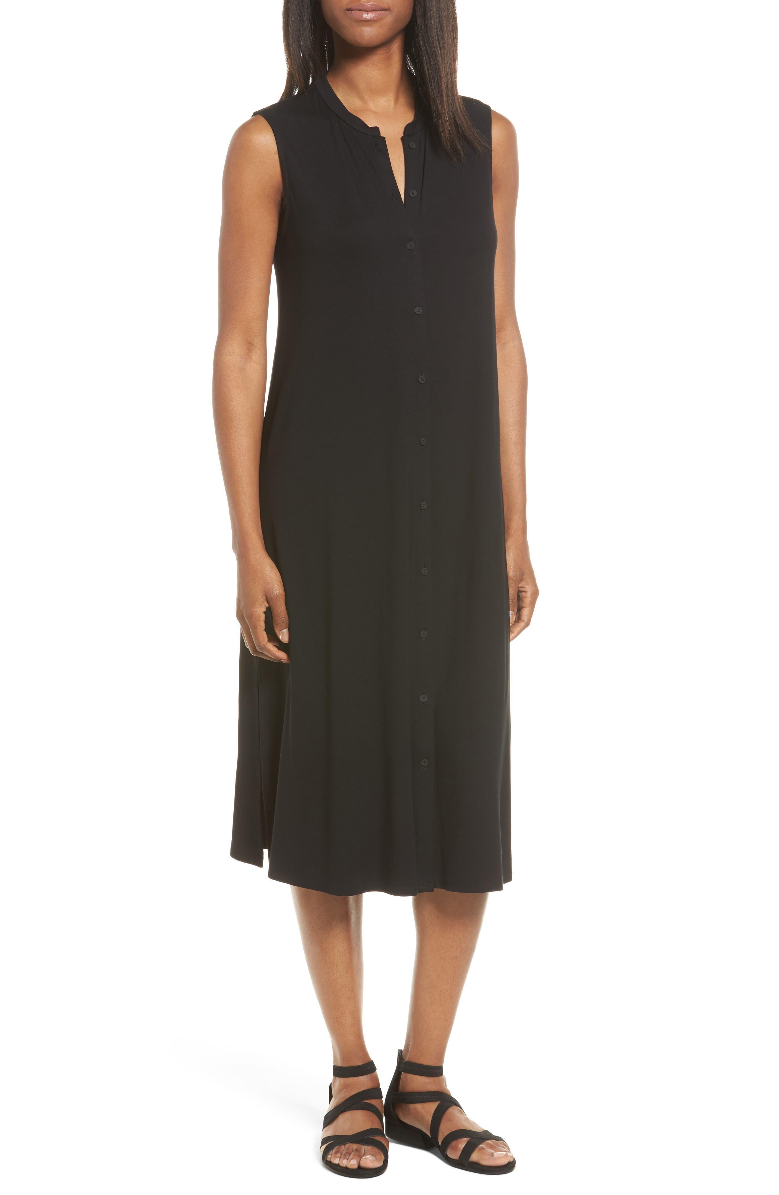 Eileen Fisher Jersey Mandarin Collar Duster Dress