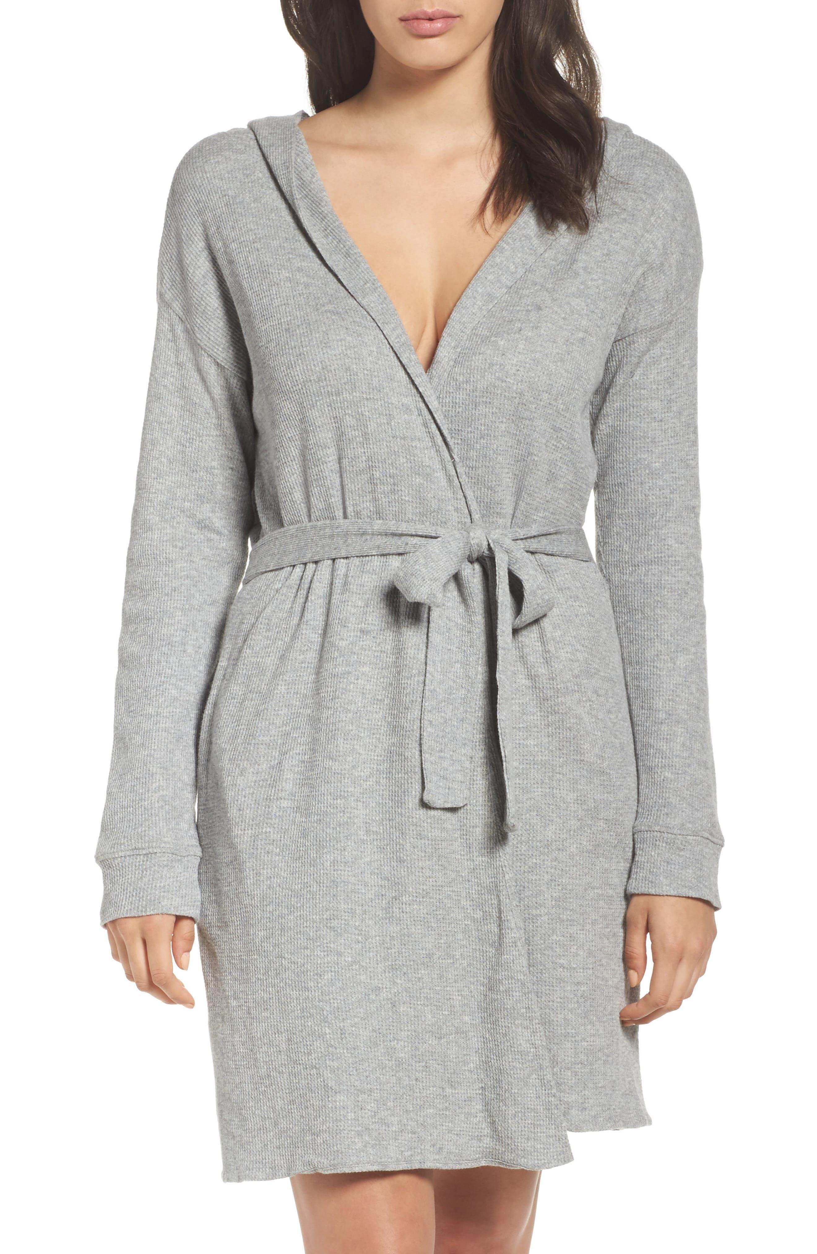 skin Waffle Knit Short Robe