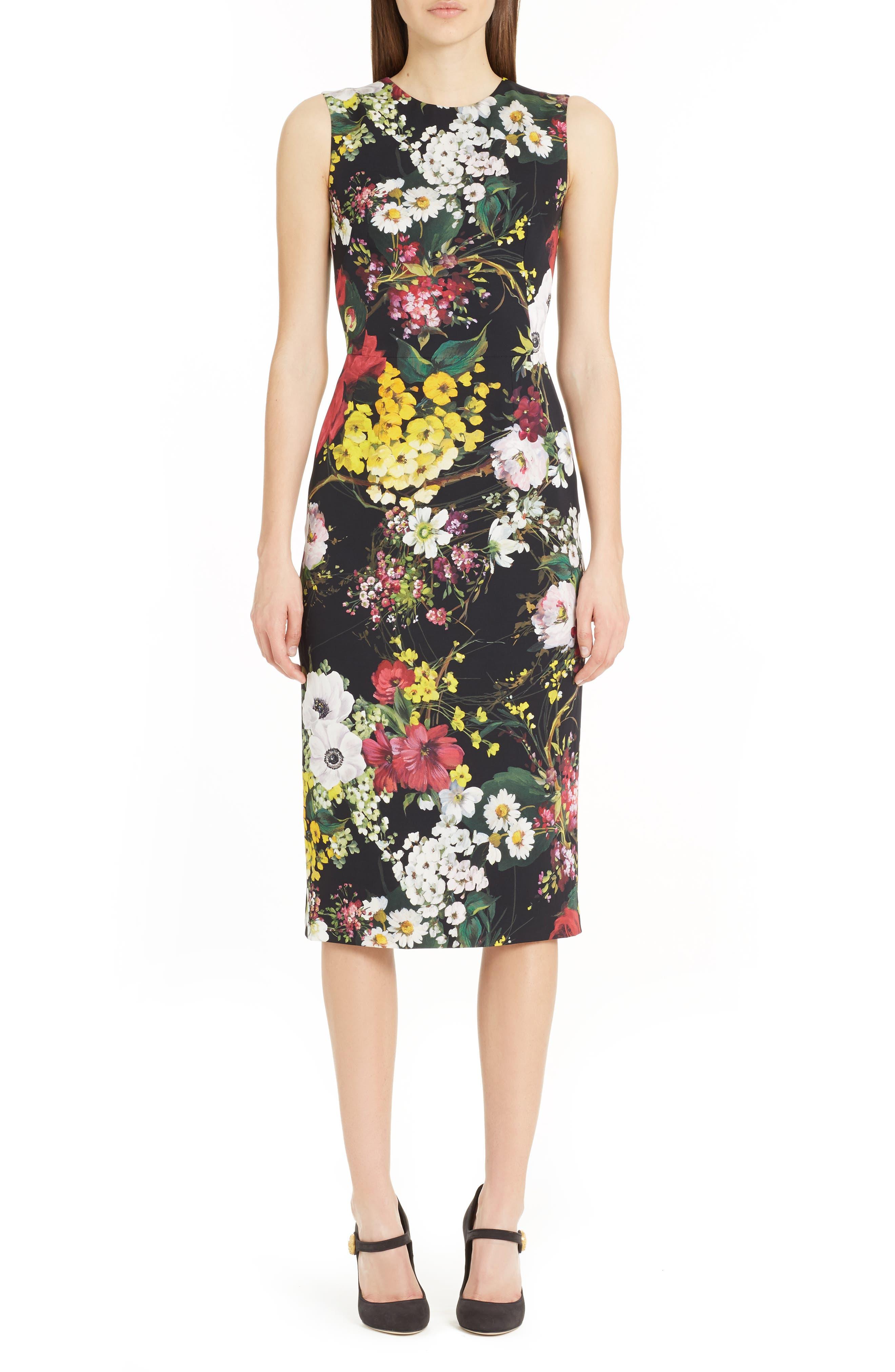 Dolce&Gabbana Floral Print Stretch Silk Sheath Dress