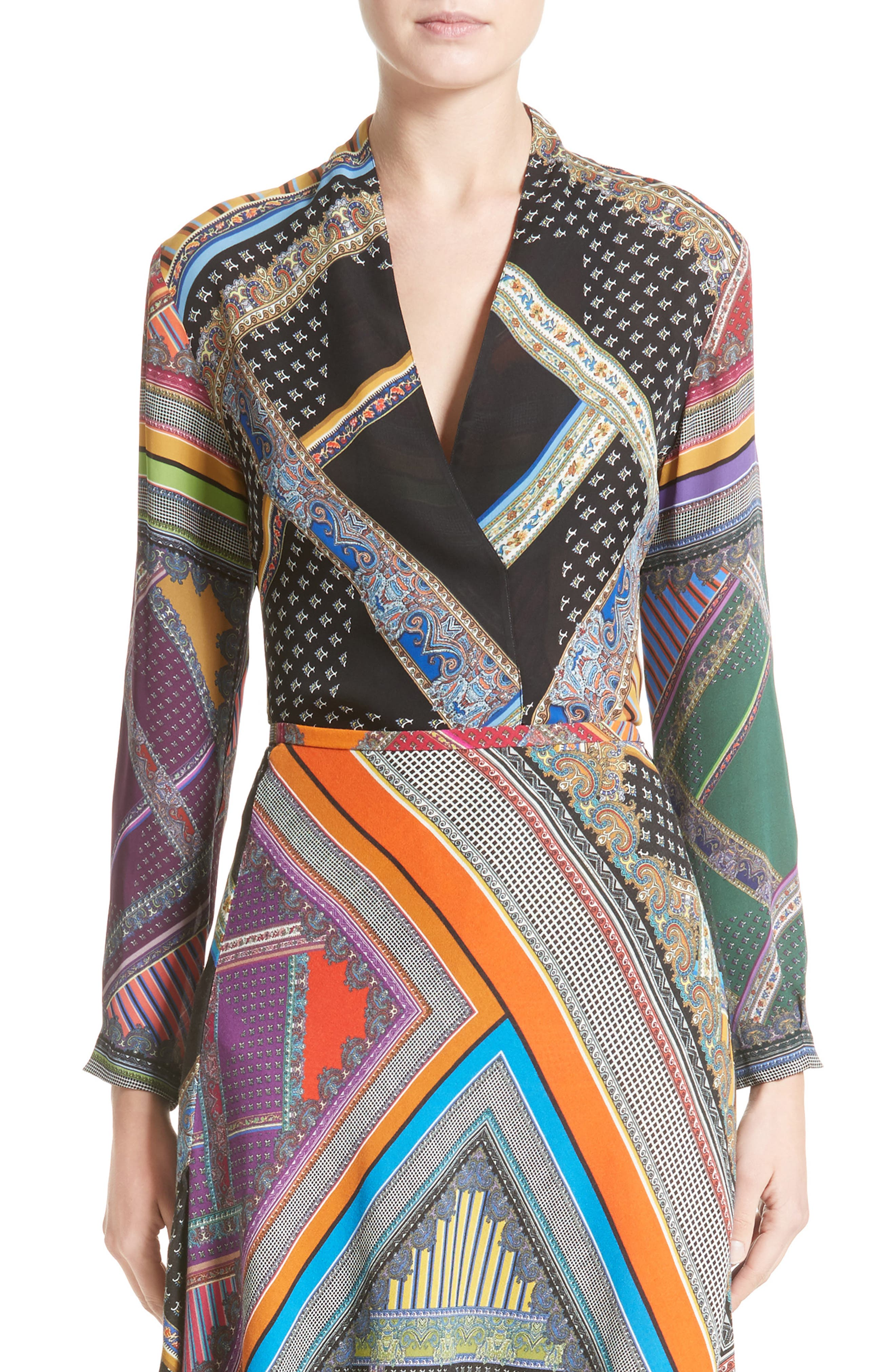 Etro Patchwork Print Silk Faux Wrap Blouse