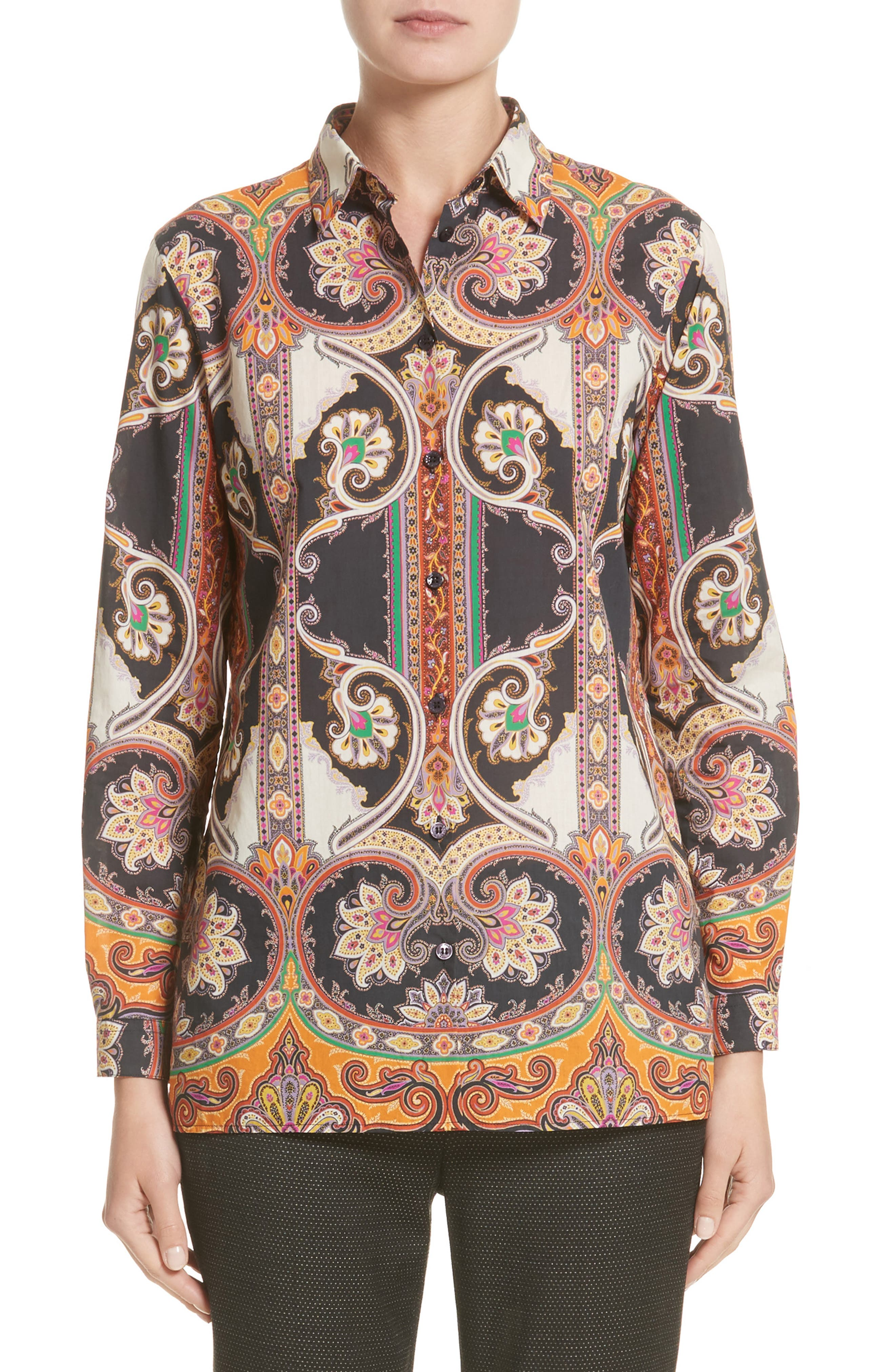 Etro Suzani Print Cotton Shirt