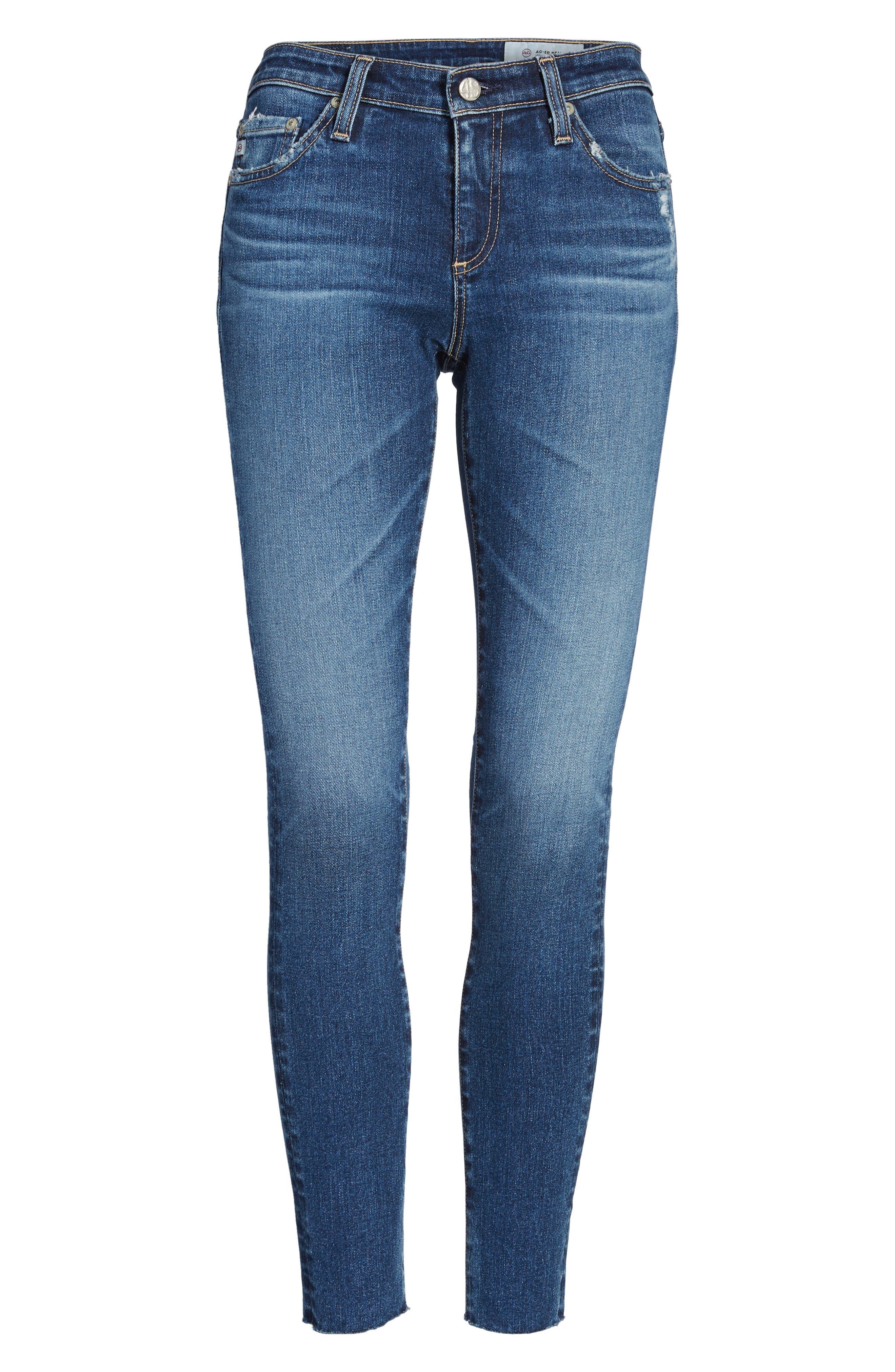Alternate Image 7  - AG The Legging Raw Hem Ankle Skinny Jeans (12 Years Blue Dust)