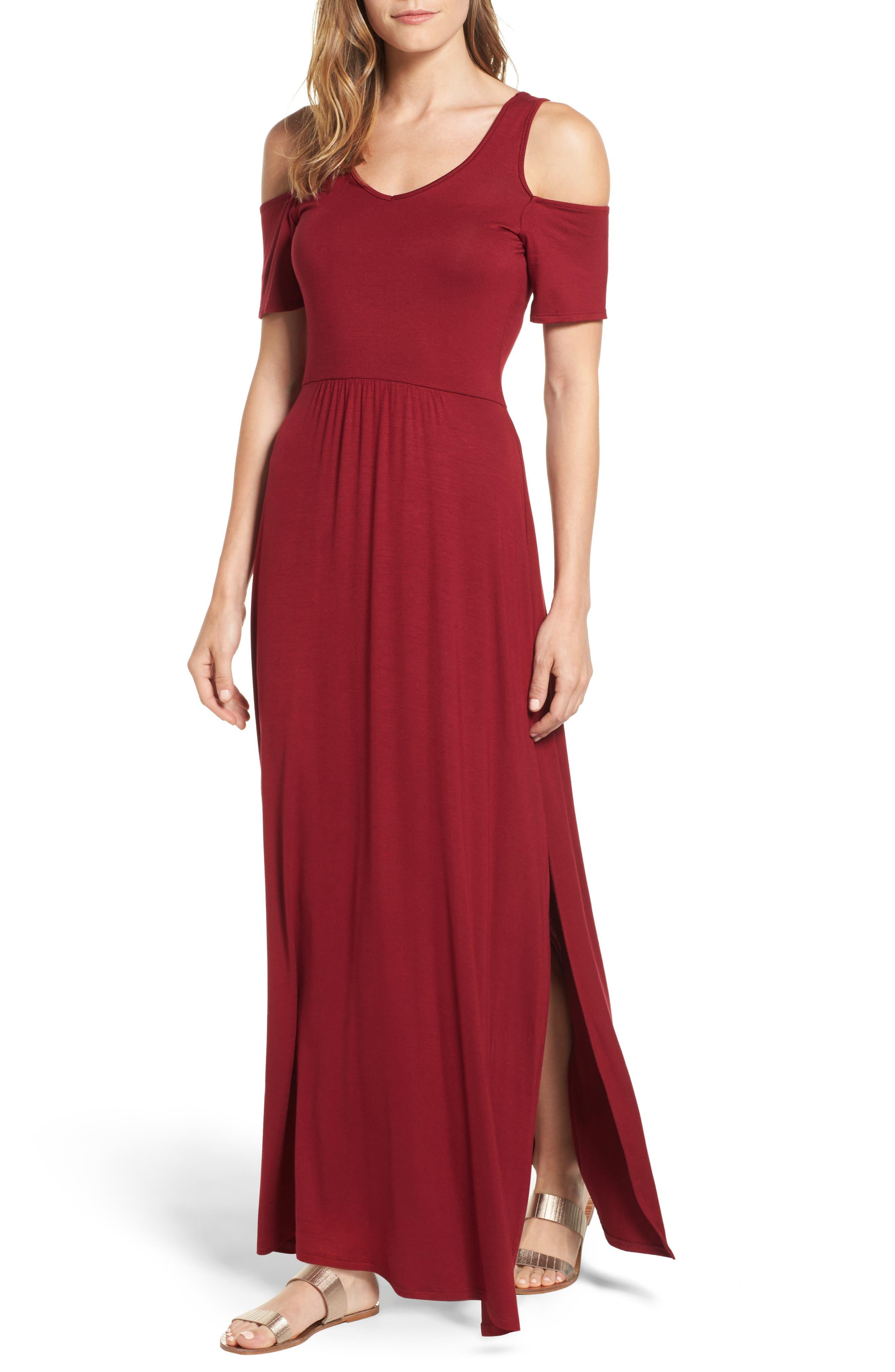 Loveappella Cold Shoulder Maxi Dress (Regular & Petite)
