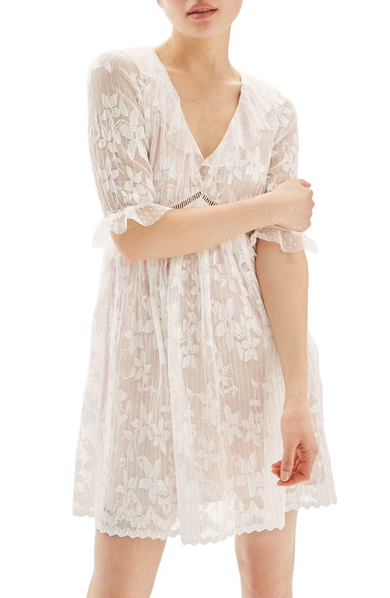 Topshop Ruffle Trim Lace Dress