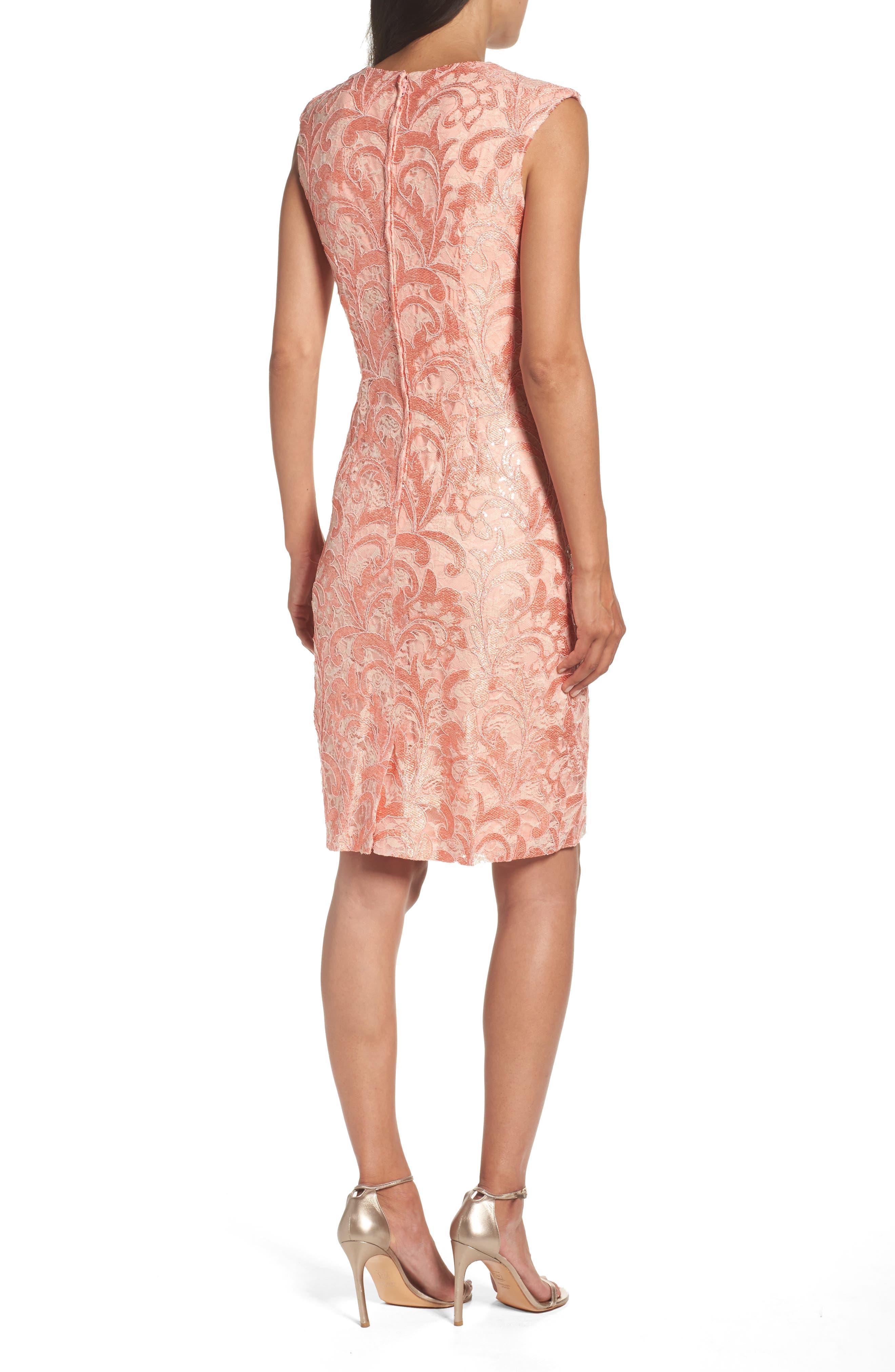 Alternate Image 2  - Chetta B Sequin Lace Sheath Dress