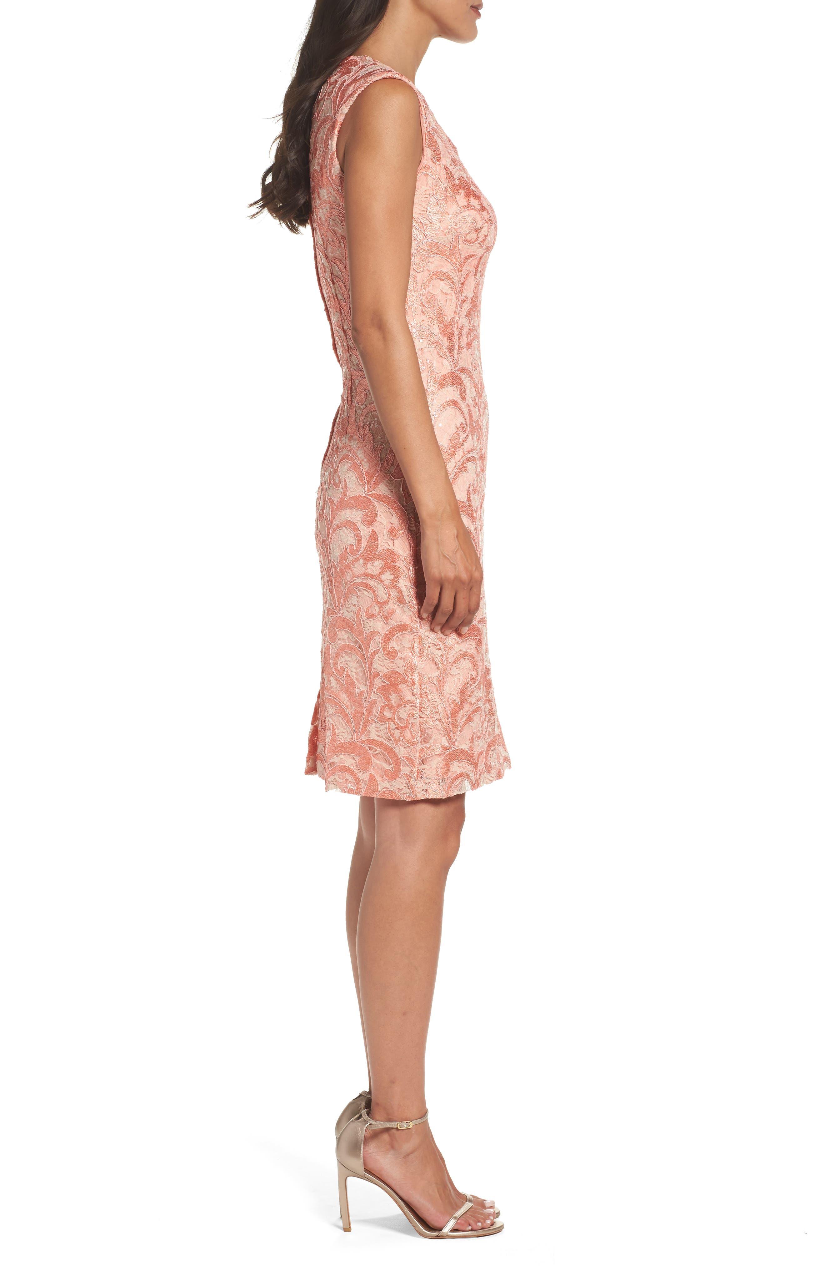 Alternate Image 3  - Chetta B Sequin Lace Sheath Dress