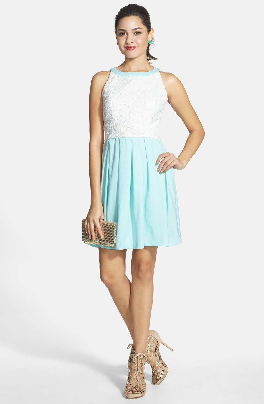 Main Image - a. drea Lace Bodice Skater Dress (Juniors)