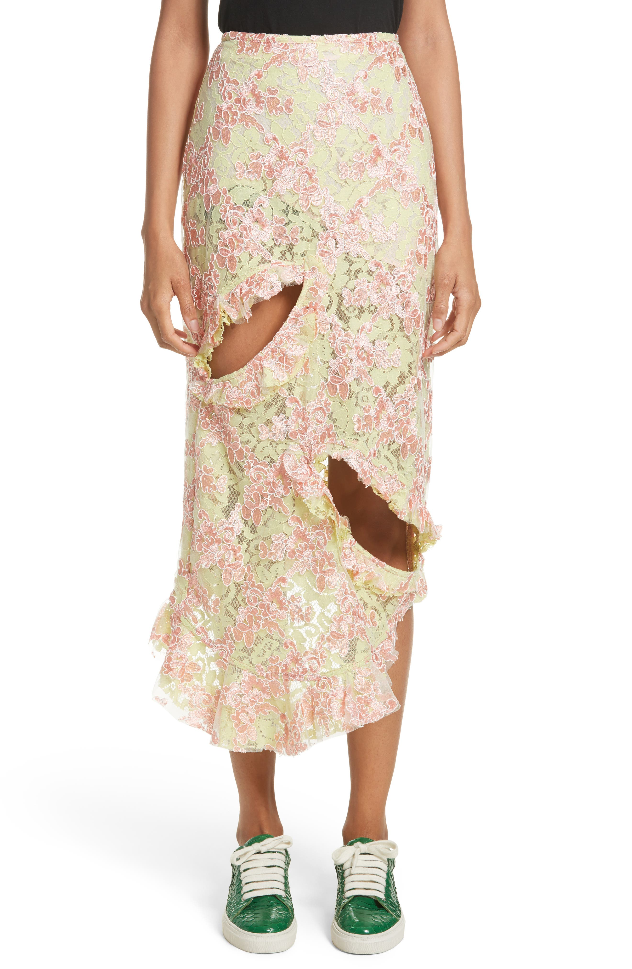 Marques'Almeida Cutout Lace Midi Skirt