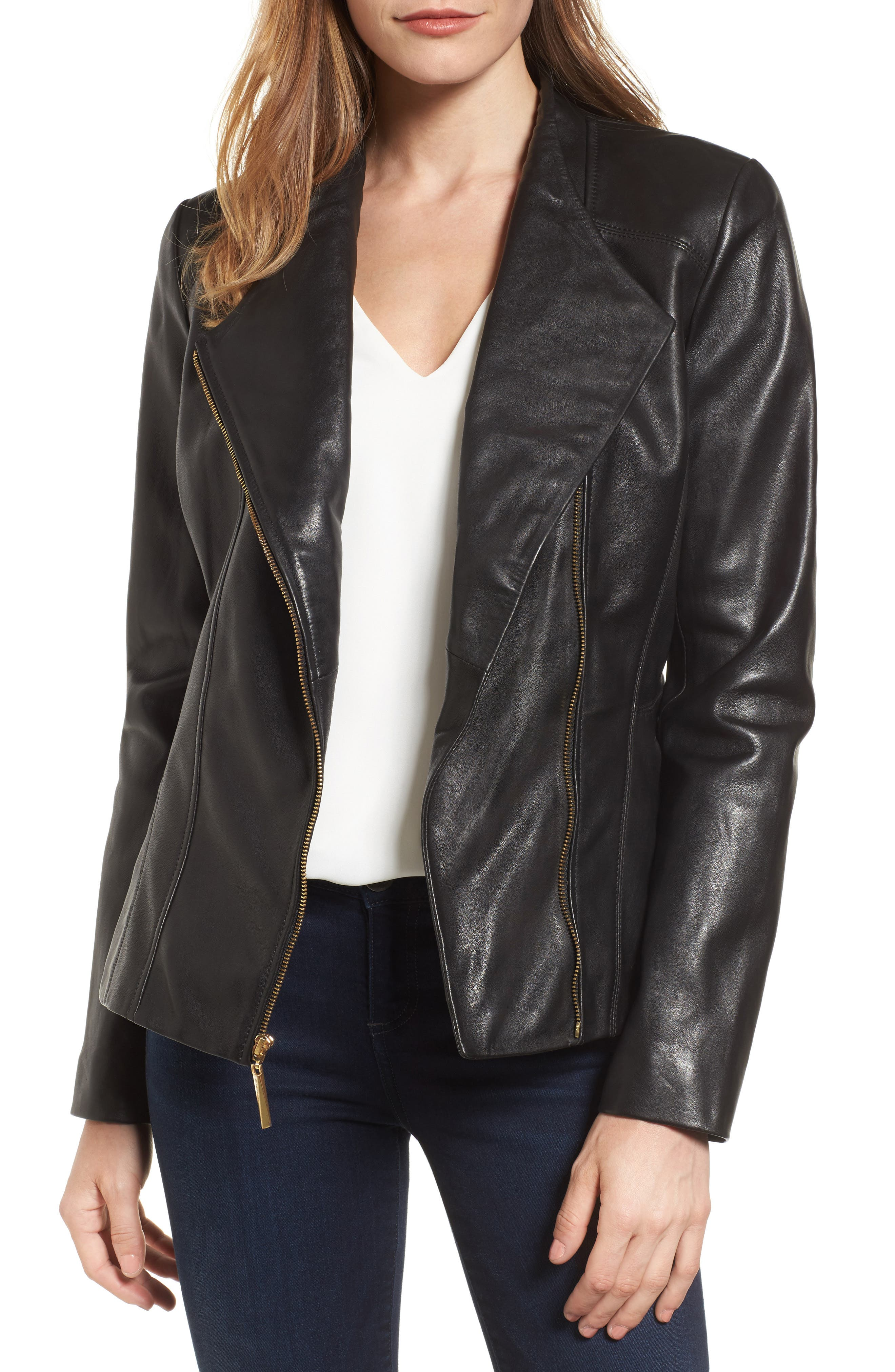 Ellen Tracy Asymmetrical Zip Leather Jacket