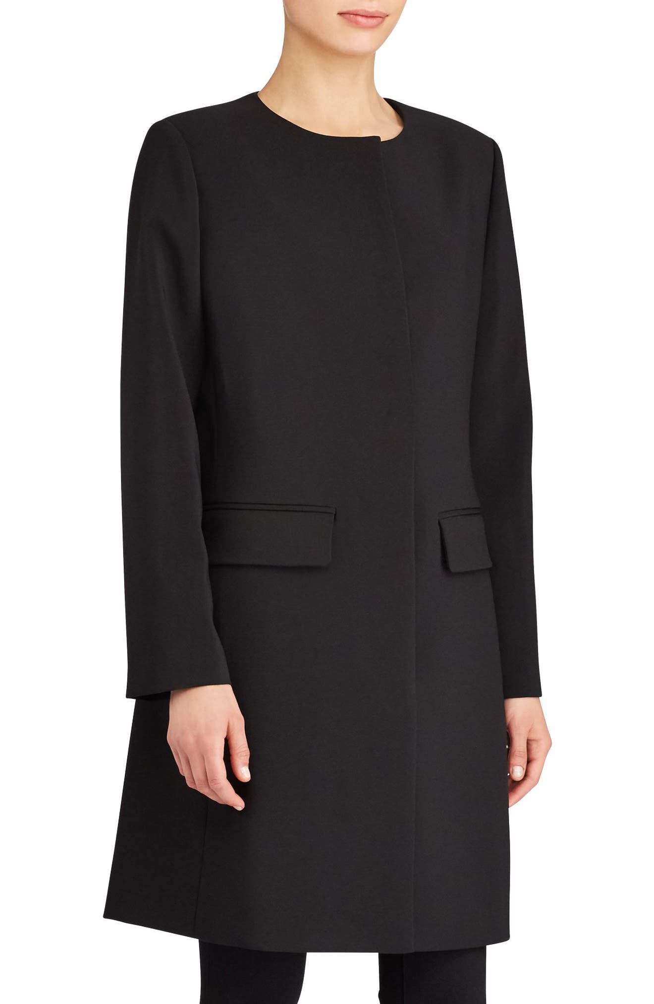 Lauren Ralph Lauren Collarless Crepe Topper (Regular & Petite)