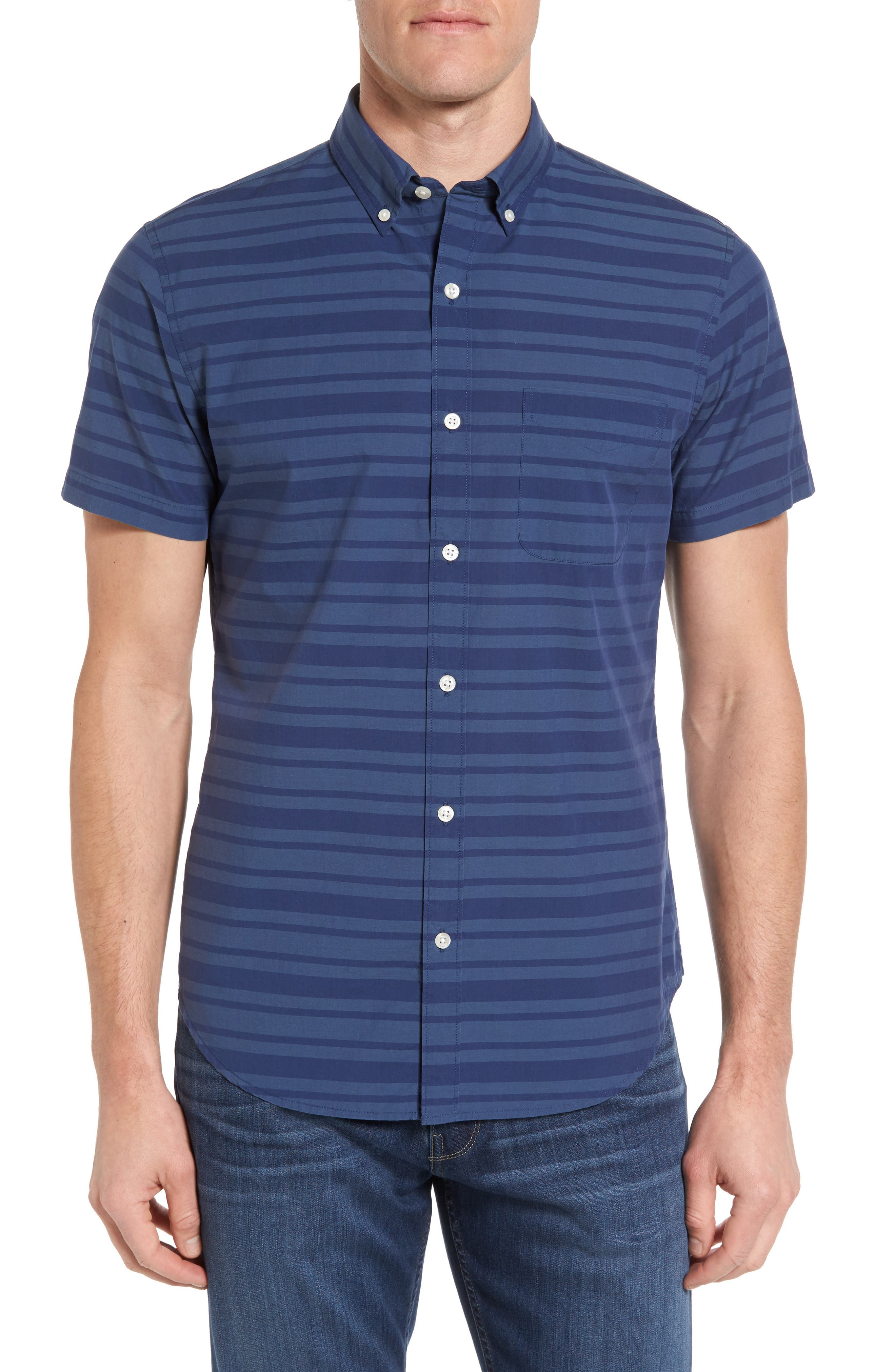 Bonobos Slim Fit Short Sleeve Stripe Sport Shirt
