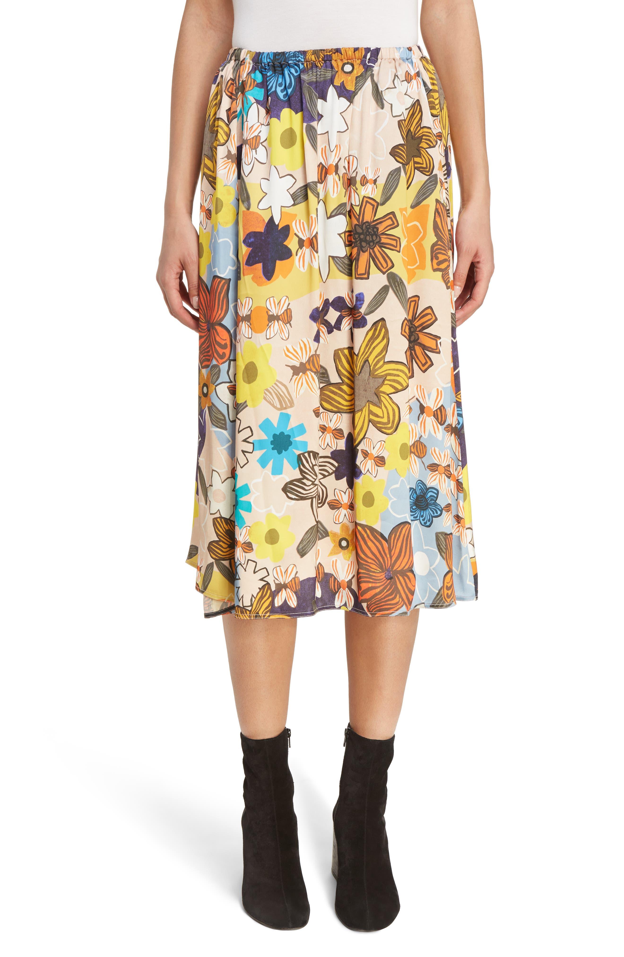 ACNE Studios Sabina Floral Print Midi Skirt