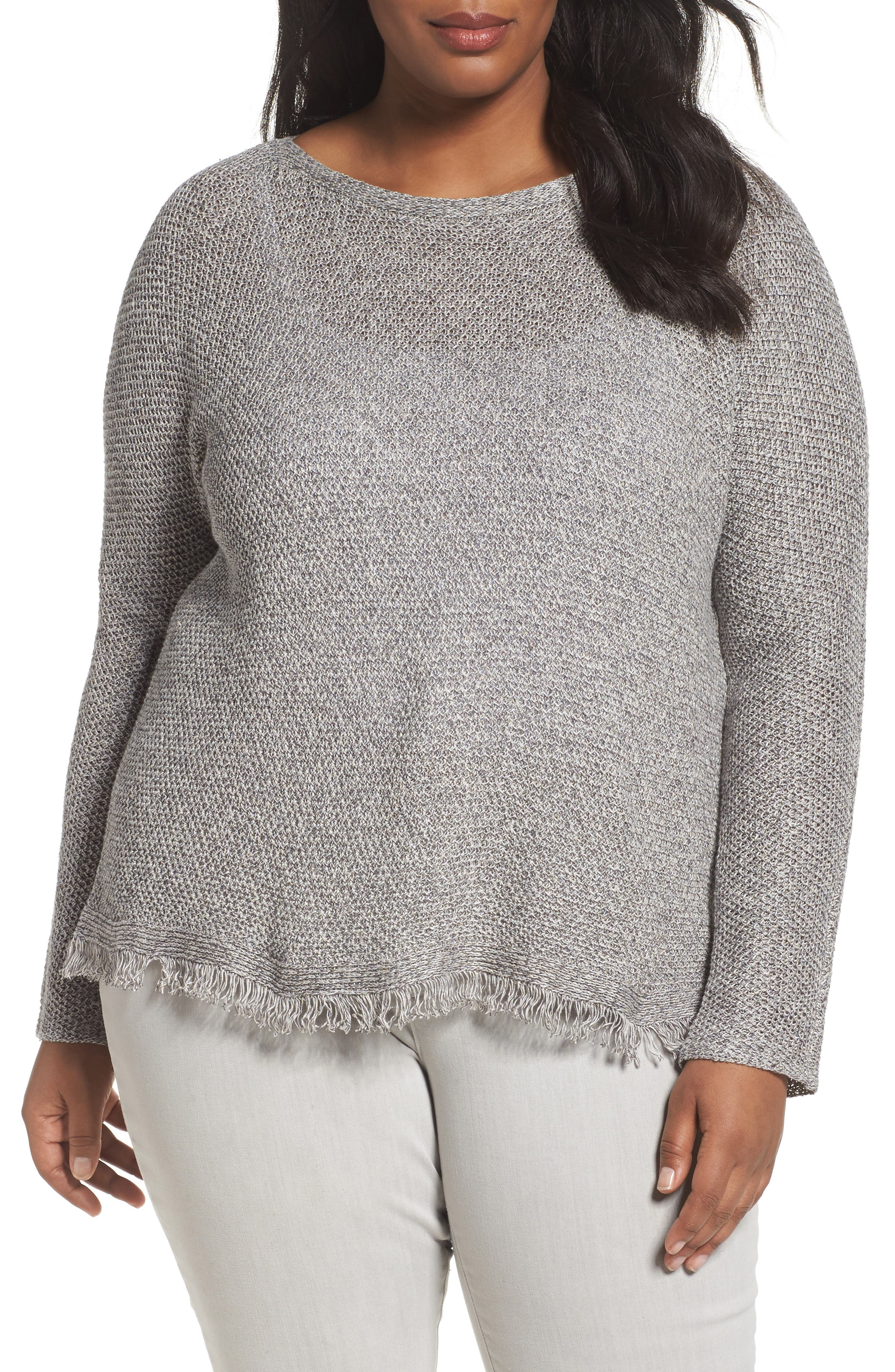 Eileen Fisher Fringe Hem Sweater (Plus Size)