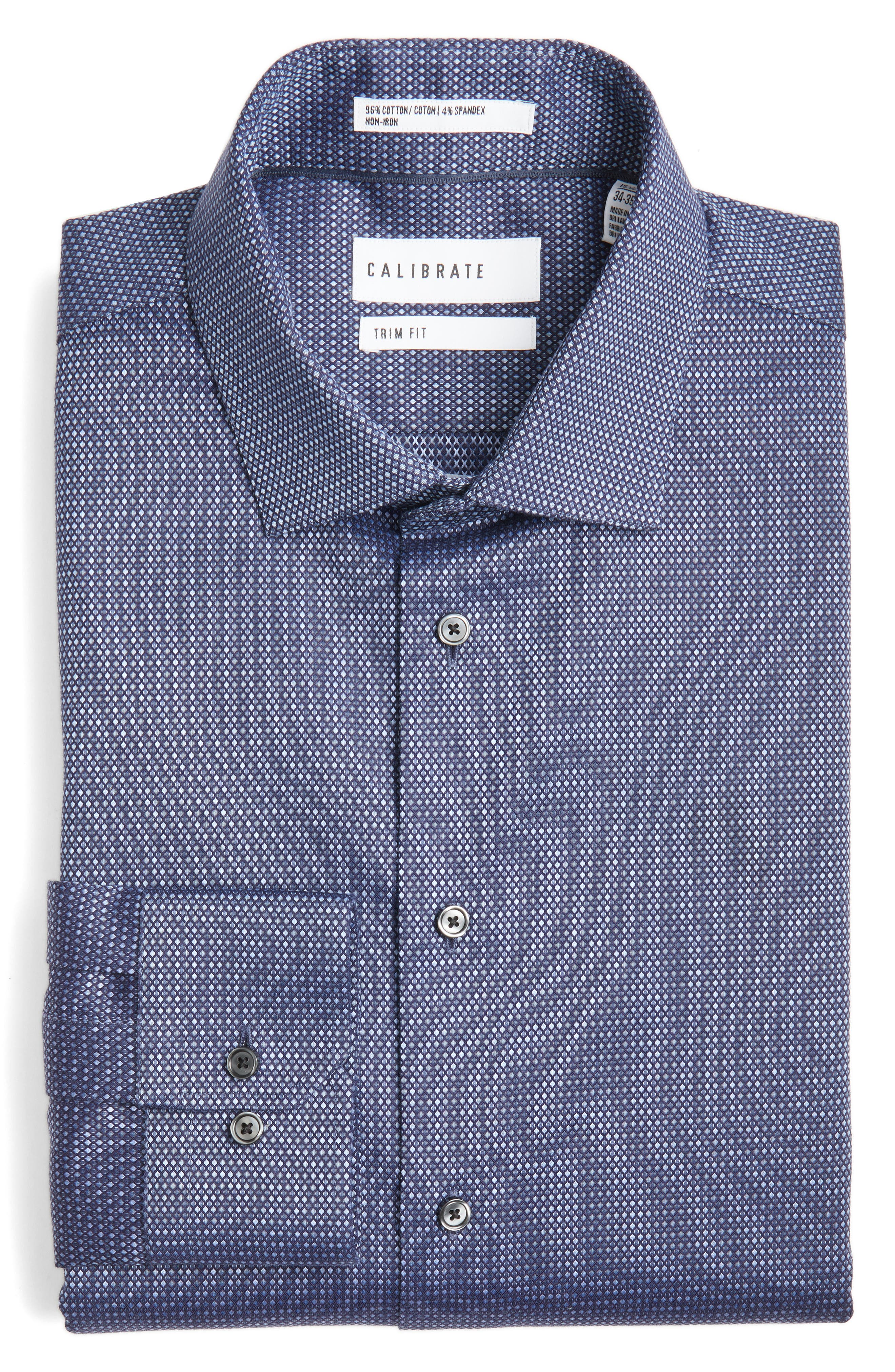 Calibrate Trim Fit Non-Iron Stretch Dot Dress Shirt