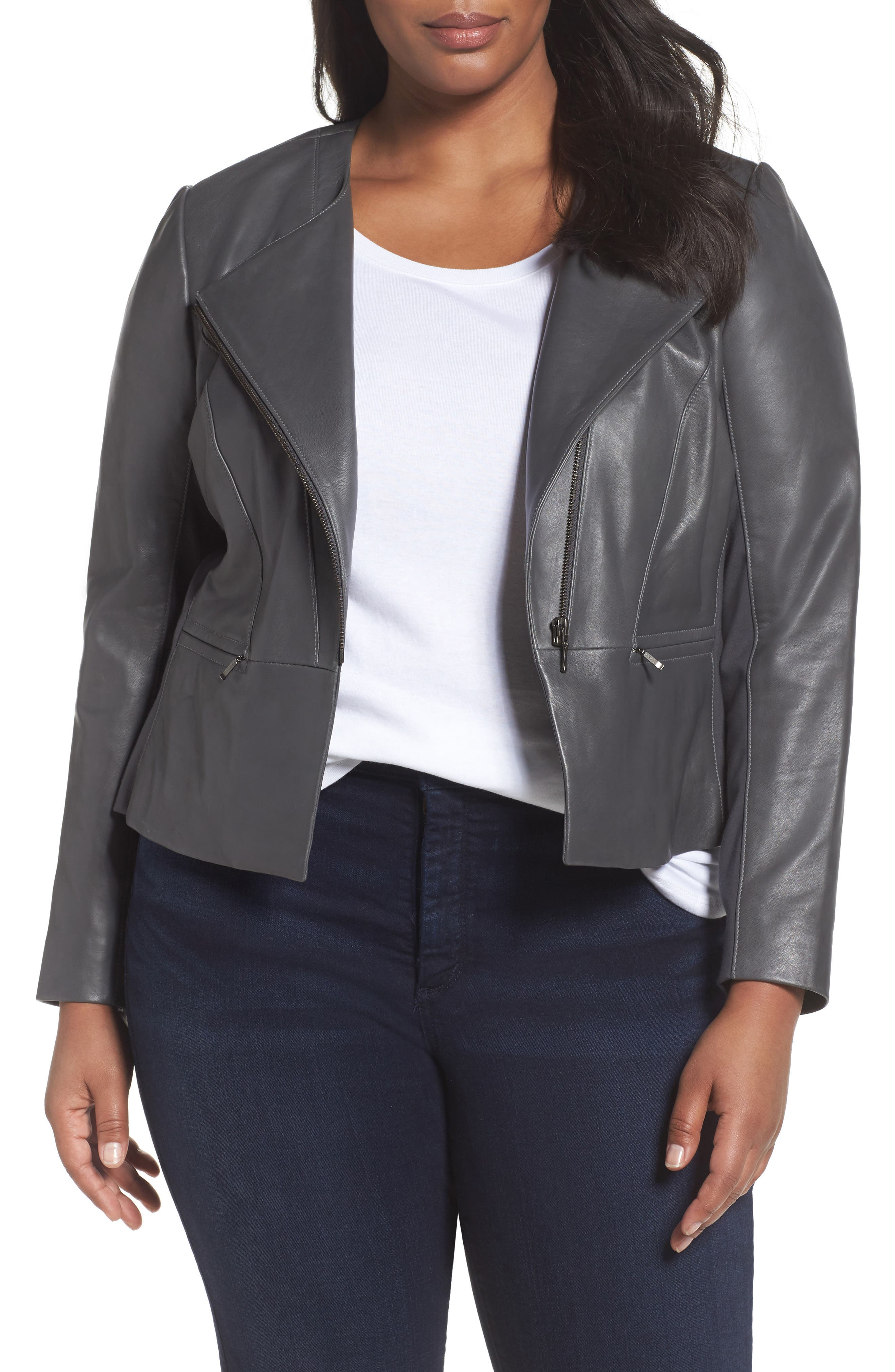 Sejour Leather Collarless Jacket (Plus Size)