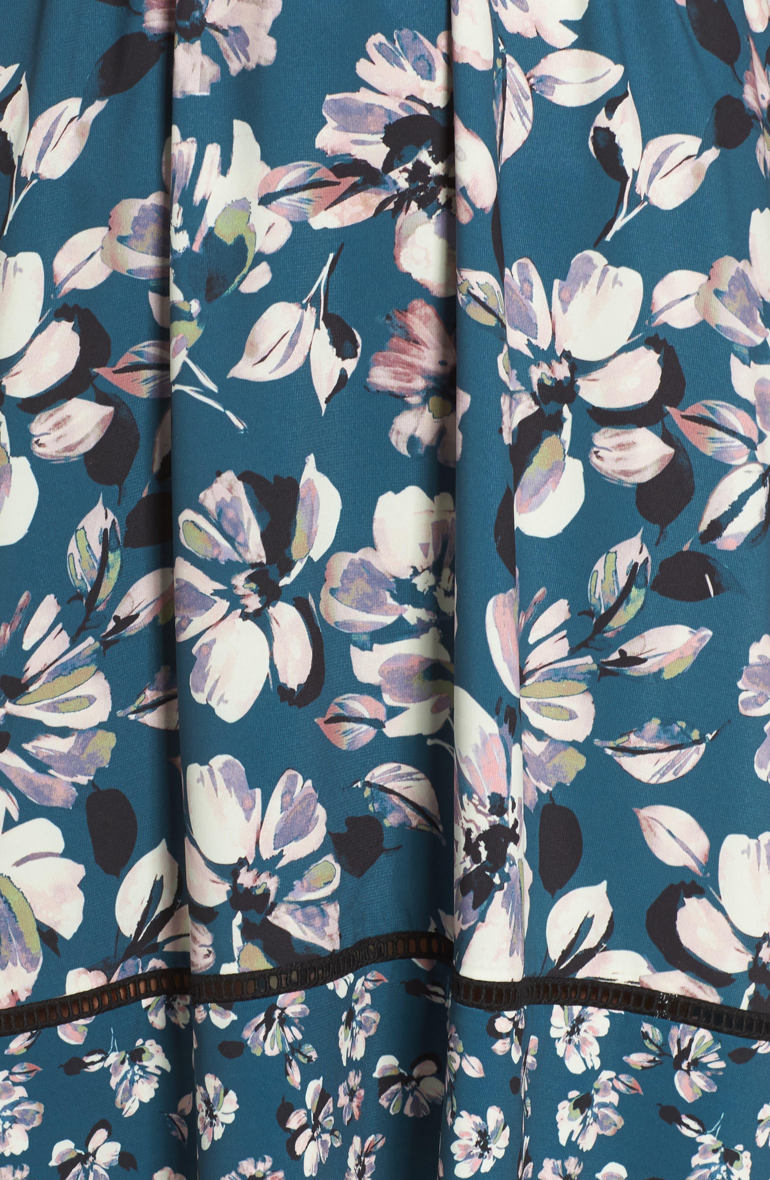 Alternate Image 6  - Eliza J Print Bell Sleeve Faux Wrap Dress (Regular & Petite)