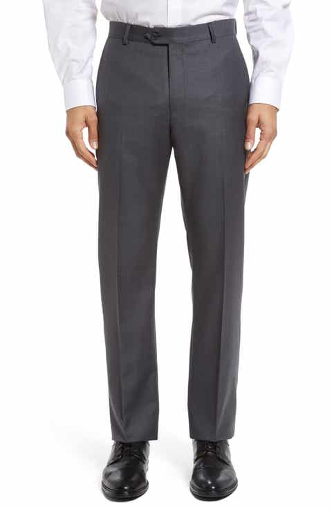 John W. Nordstrom® Flat Front Solid Wool Trousers