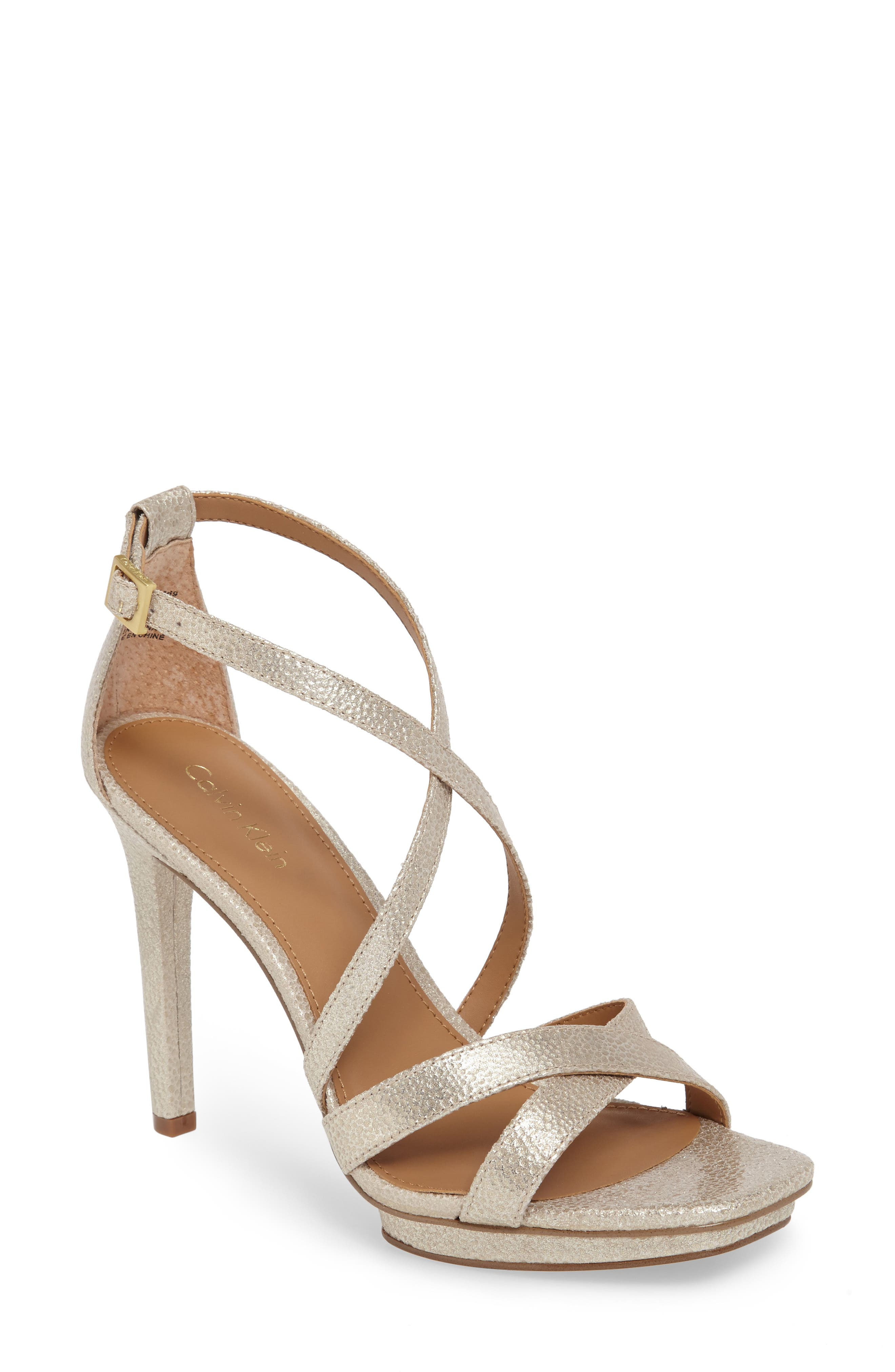 Calvin Klein Vonnie Cross Strap Sandal (Women)