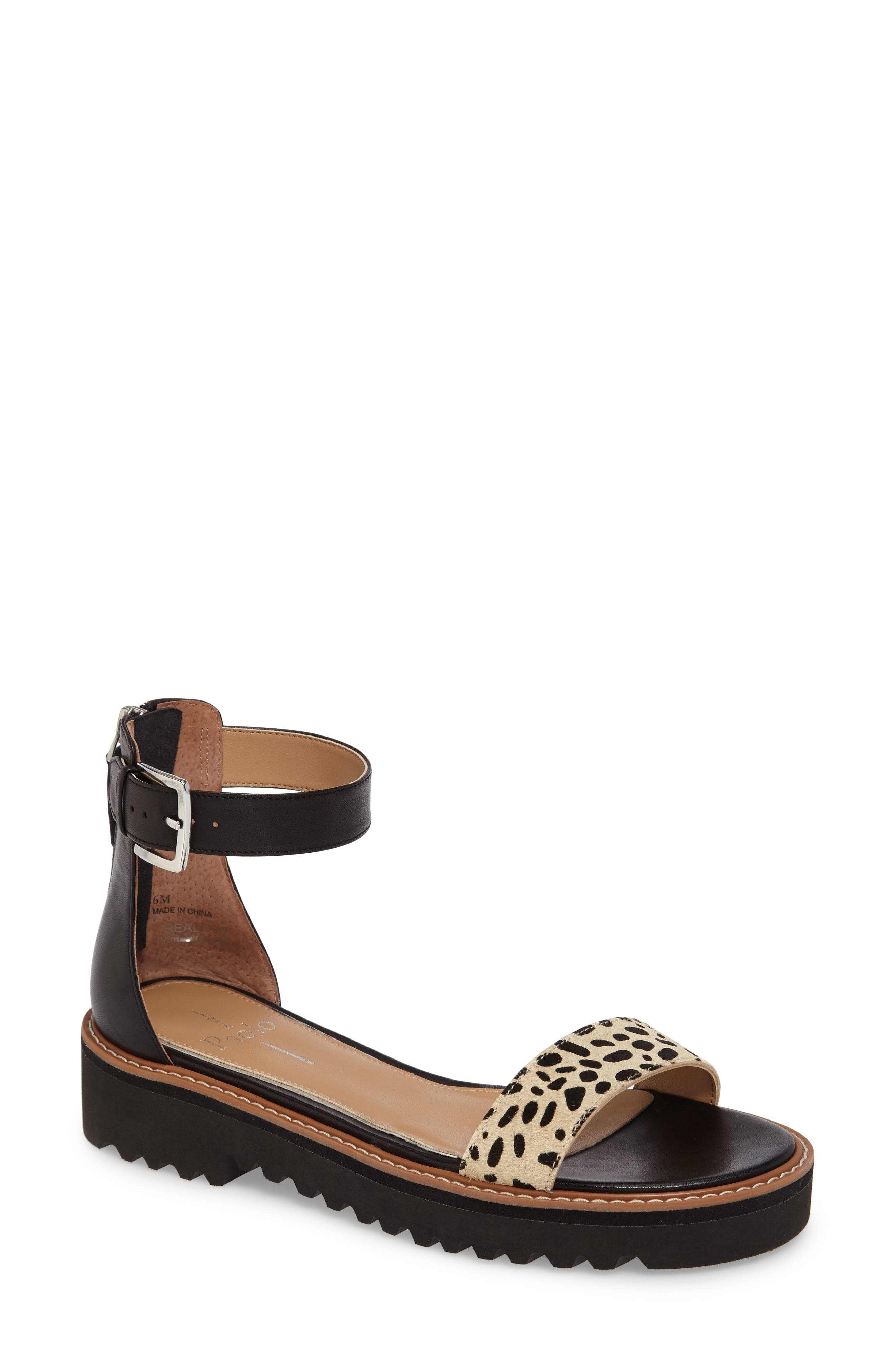 Linea Paolo Riley Genuine Calf Hair Ankle Strap Sandal (Women)