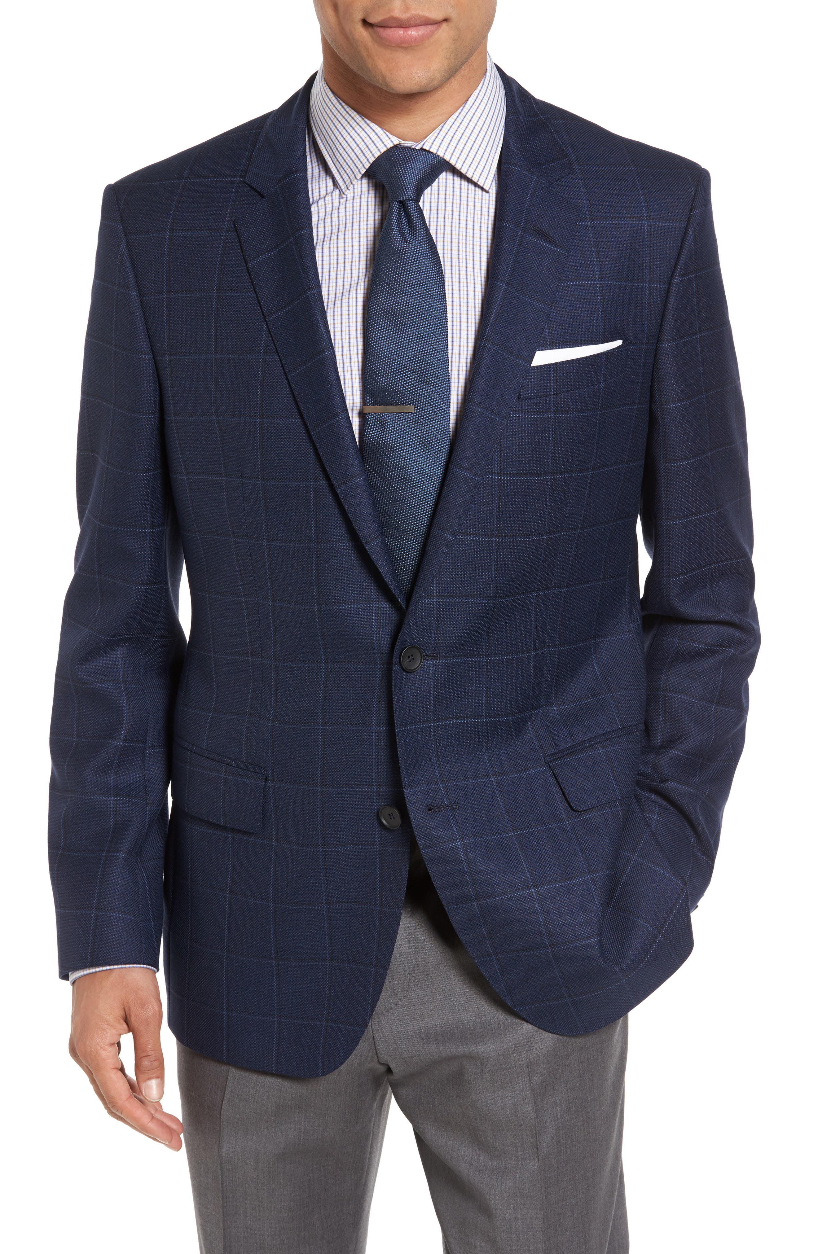 BOSS Hutch Trim Fit Windowpane Wool Sport Coat