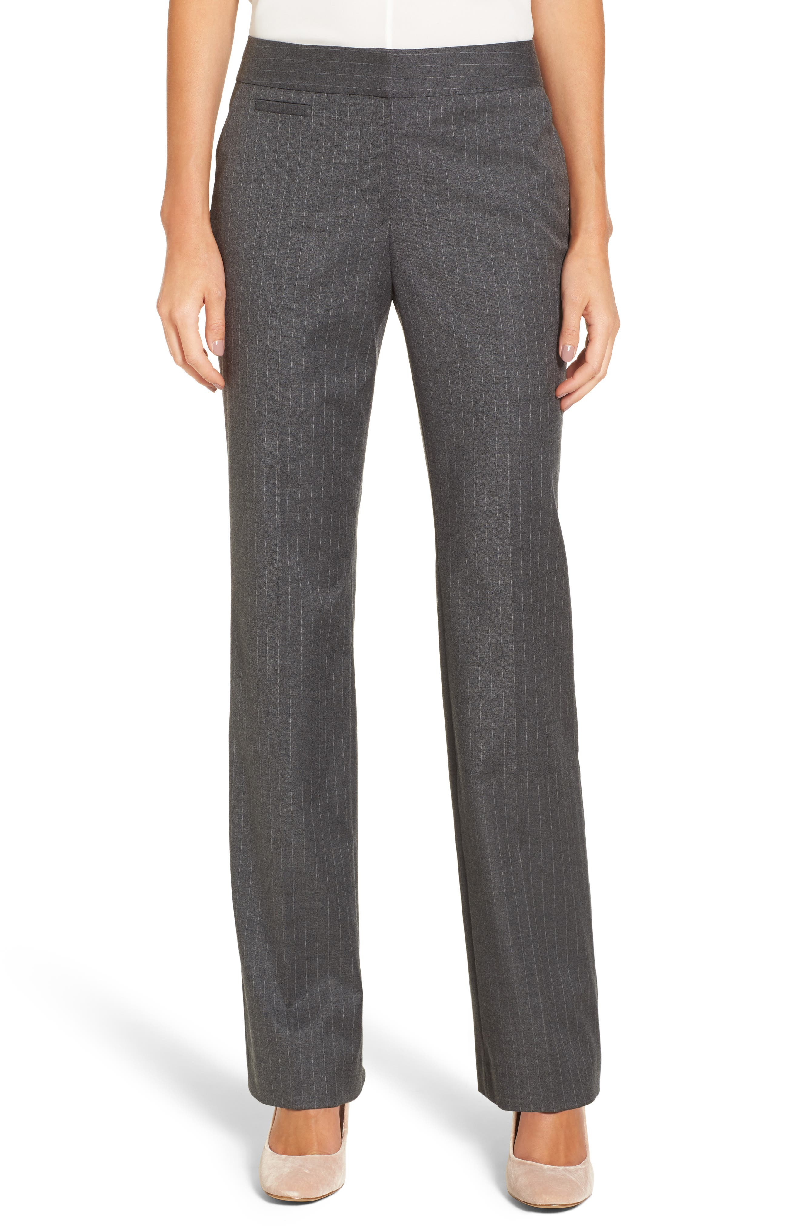Halogen® Pinstripe Stretch Suit Pants (Regular & Petite)