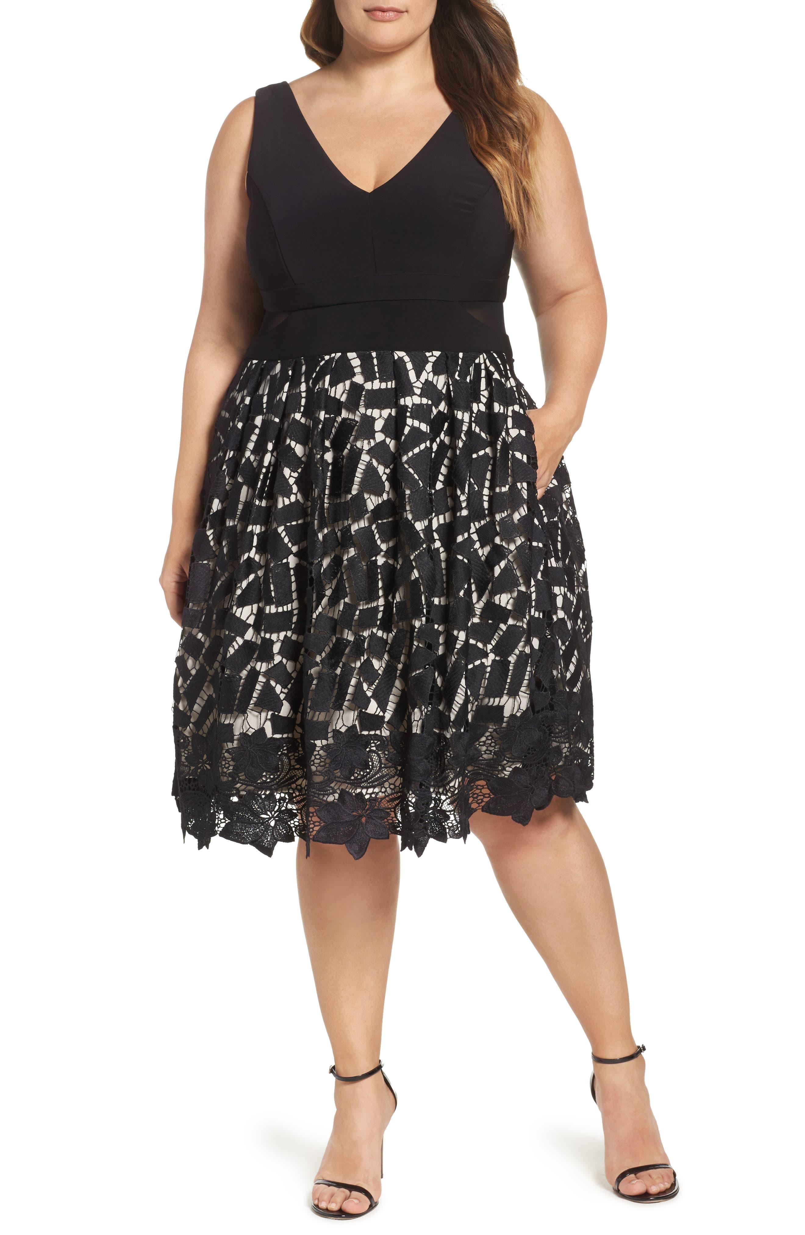 Xscape Lace & Jersey Dress (Plus Size)