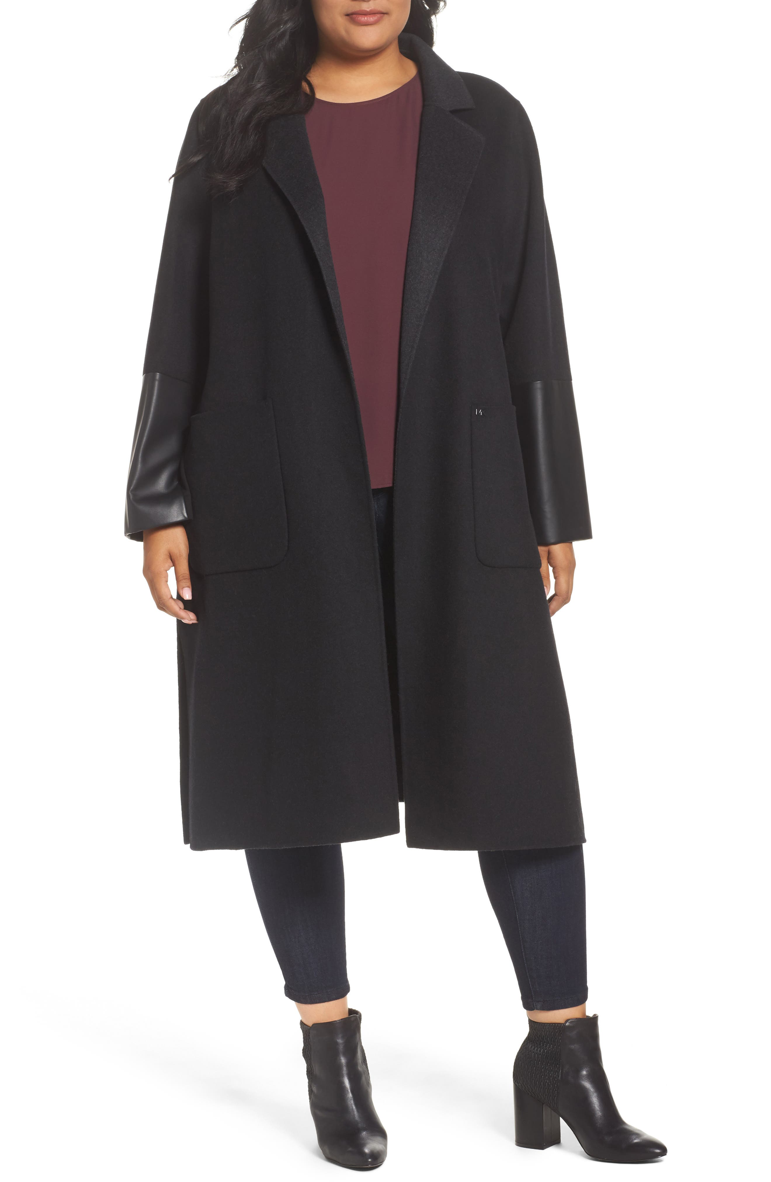 MICHAEL Michael Kors Double Face Wool Blend Duster (Plus Size)