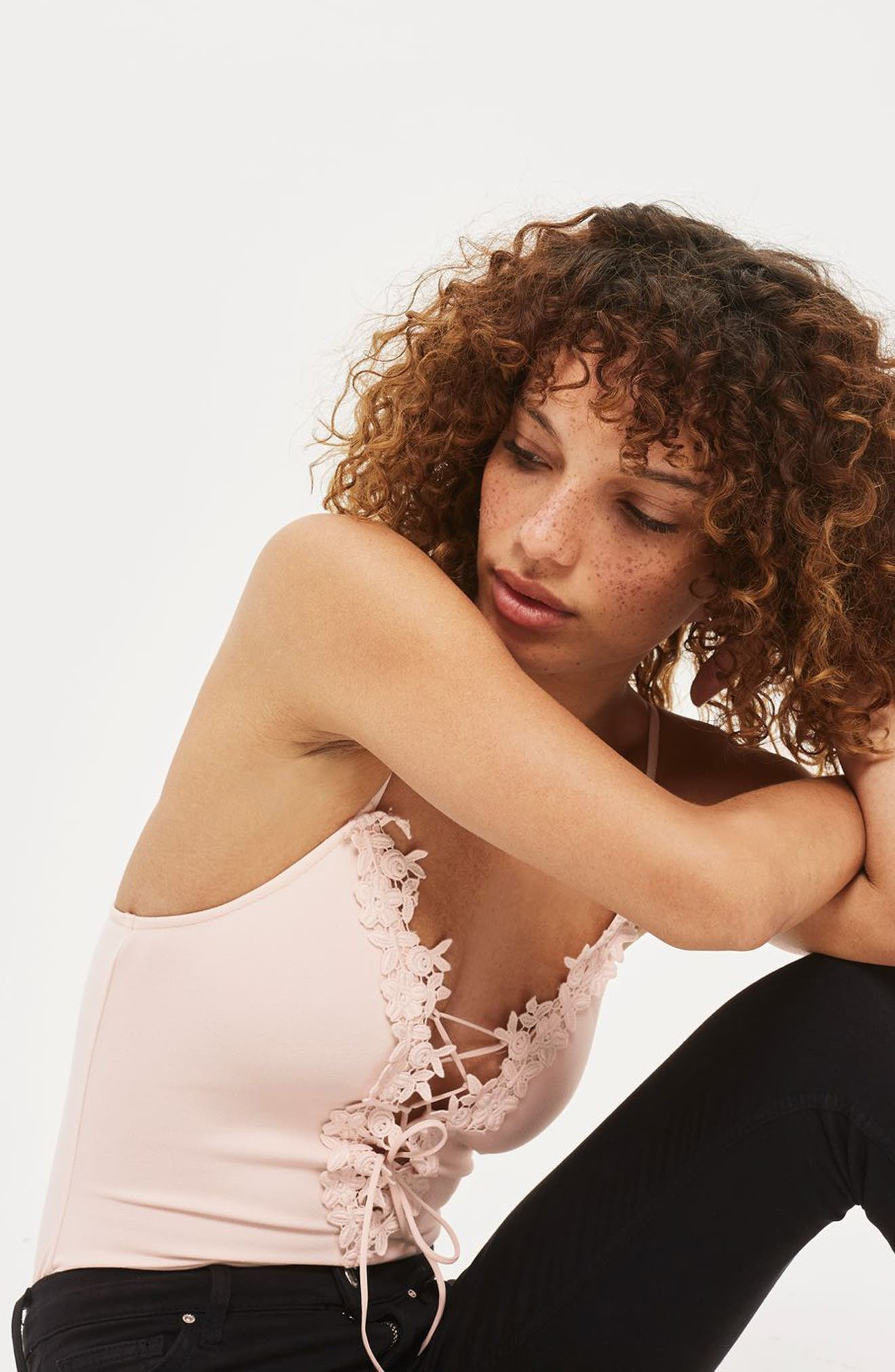 Alternate Image 2  - Topshop Appliqué Lace-Up Bodysuit