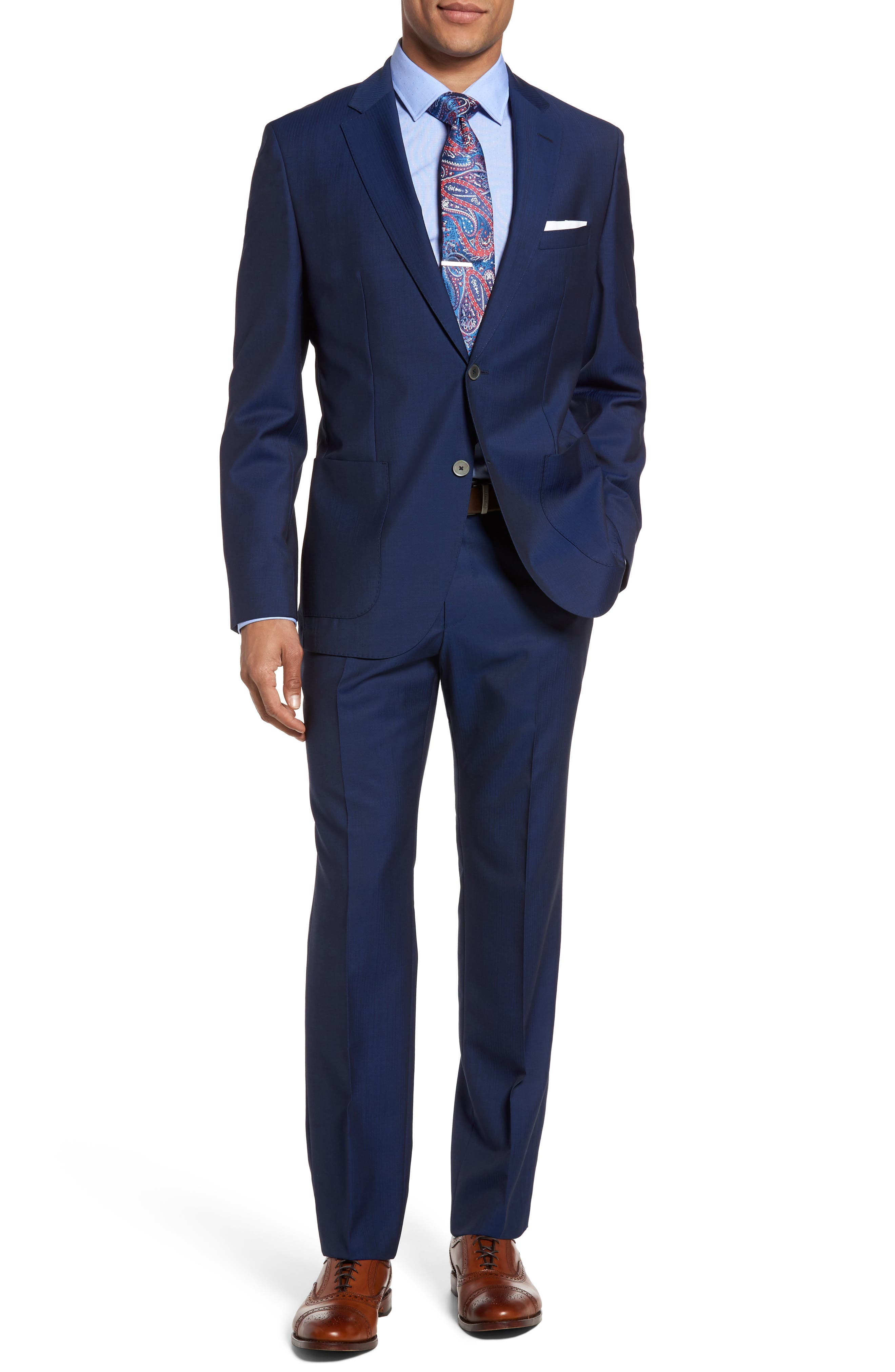 BOSS Janon/Lenon 2 Trim Fit Herringbone Wool Suit