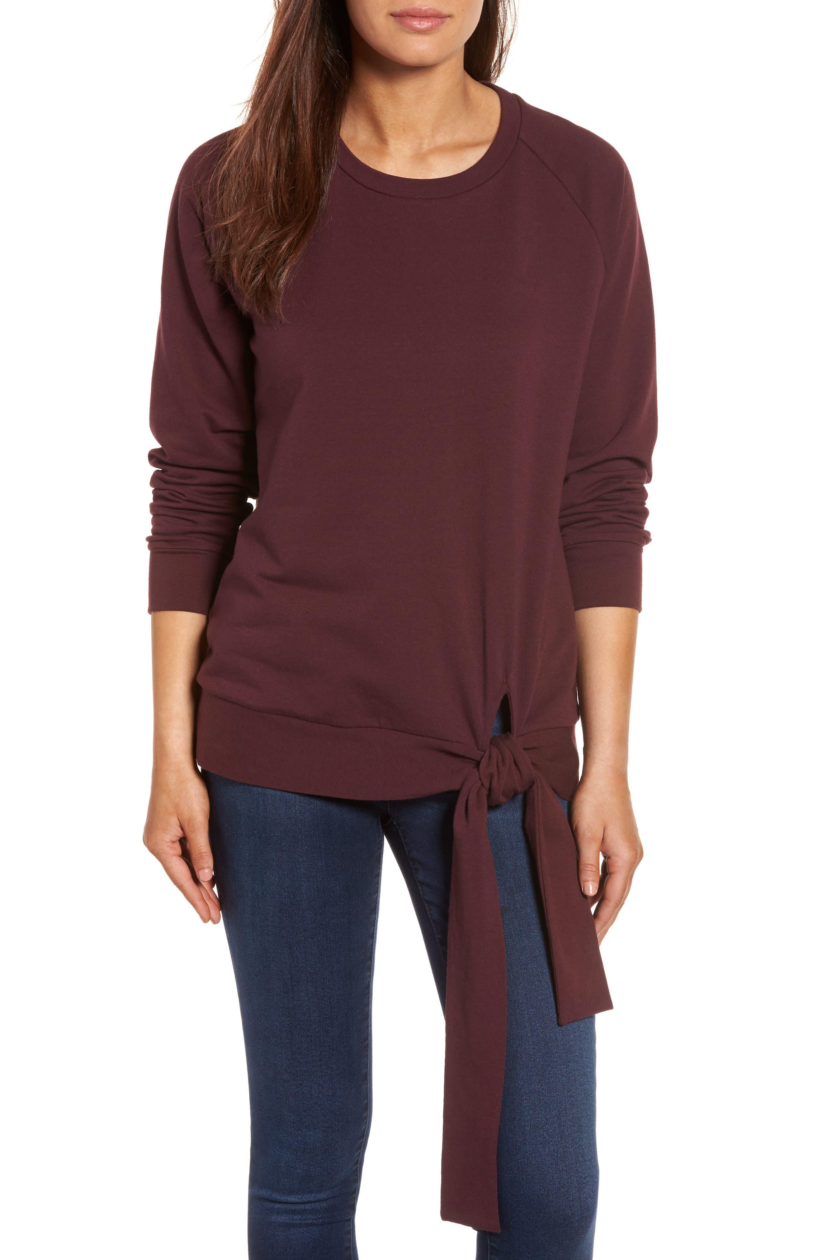 Caslon® Tie Knot Sweatshirt (Regular & Petite)