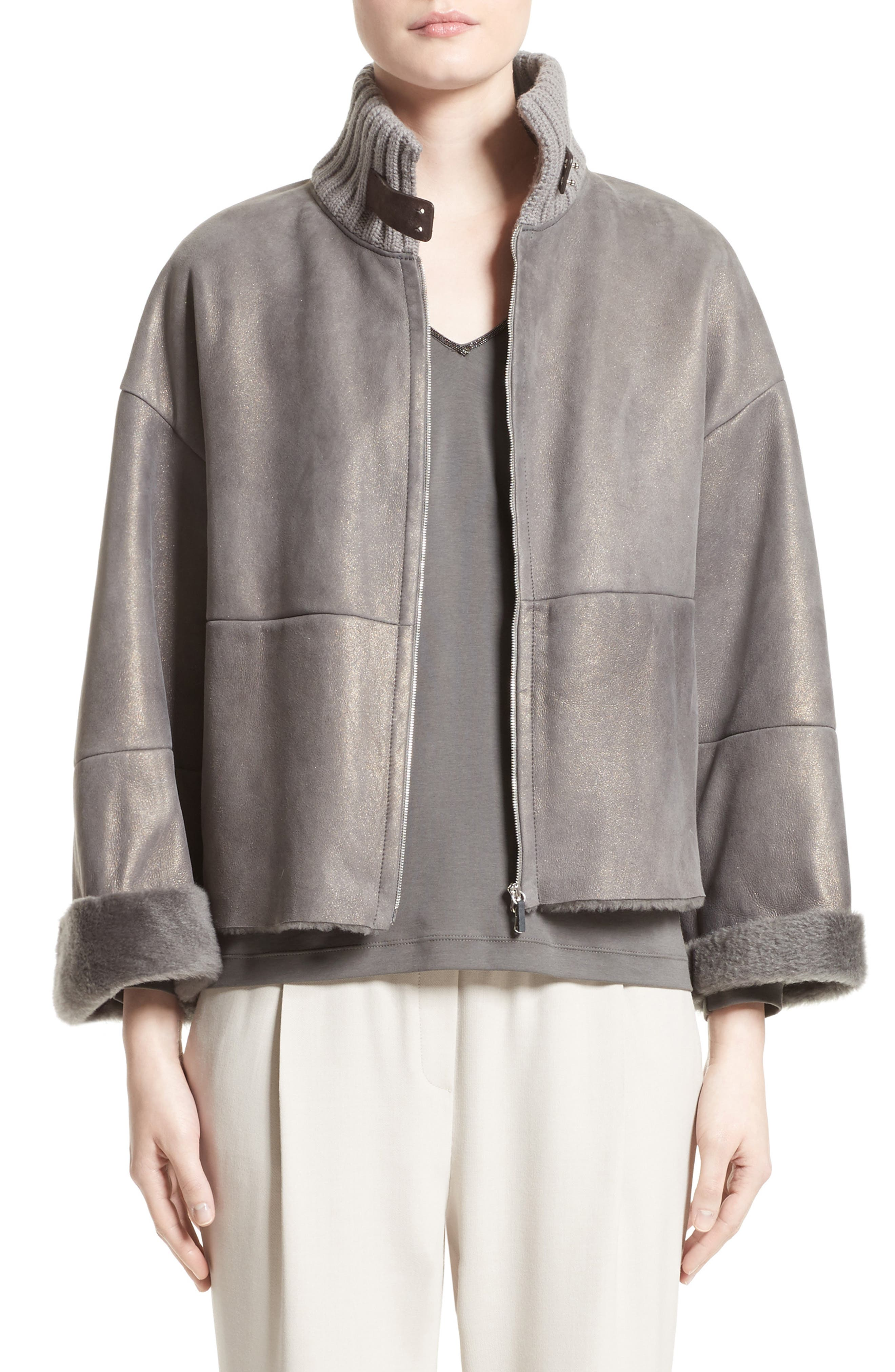 Fabiana Filippi Suede Trim Metallic Genuine Shearling Jacket