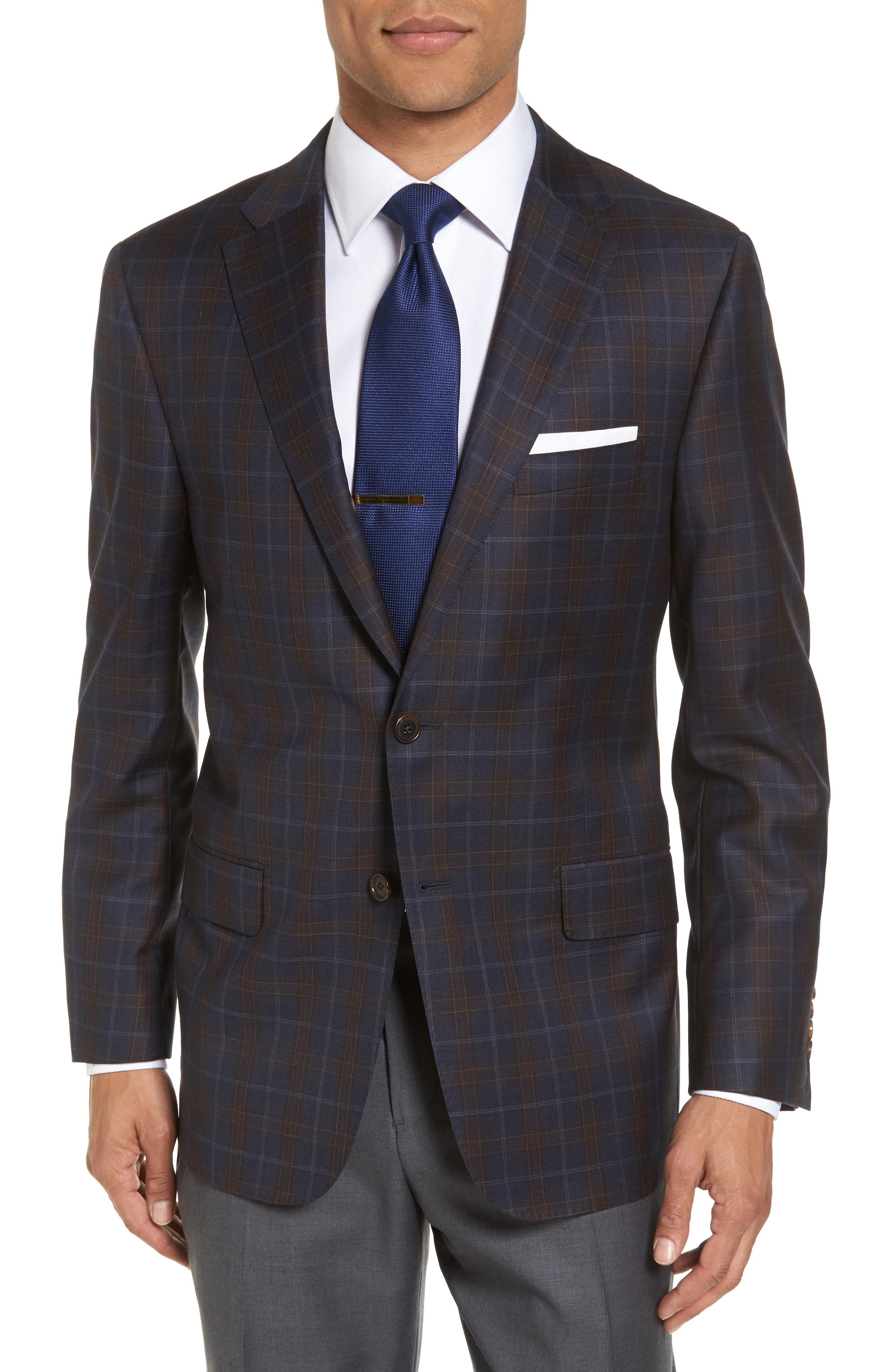 Hickey Freeman B-Series Classic Fit Plaid Wool Sport Coat