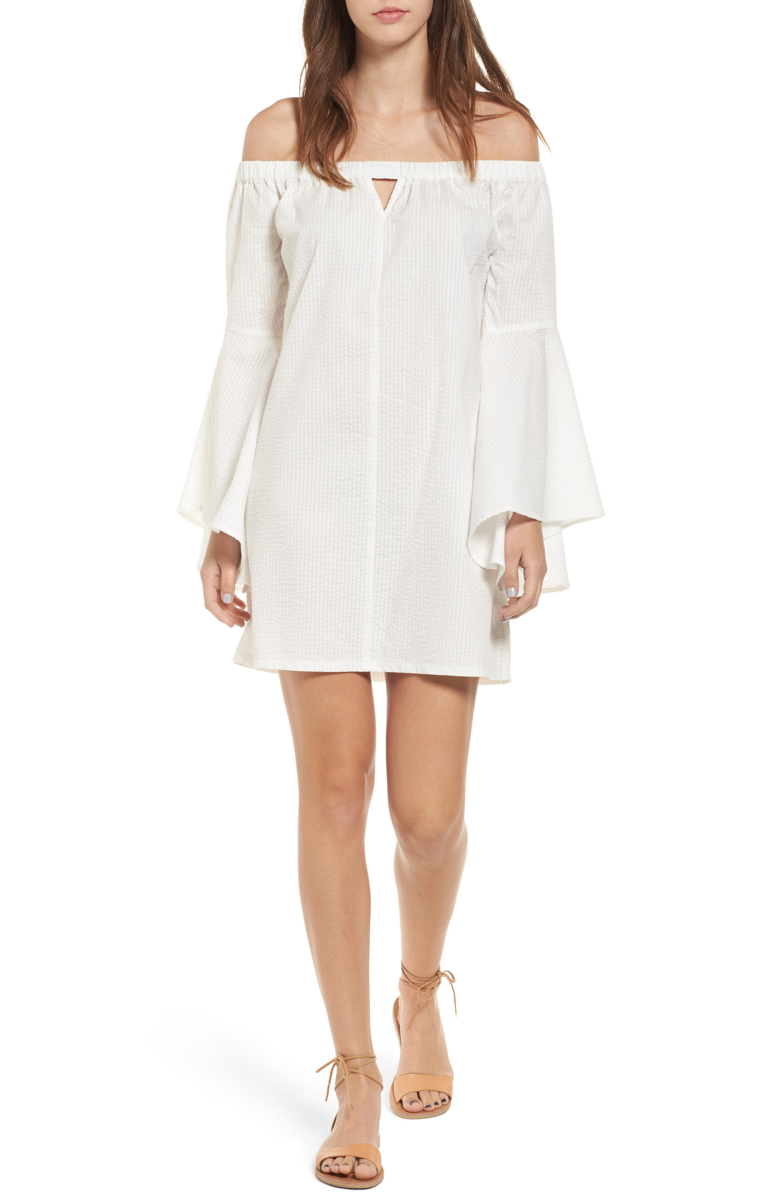 Mimi Chica Bell Sleeve Off the Shoulder Dress