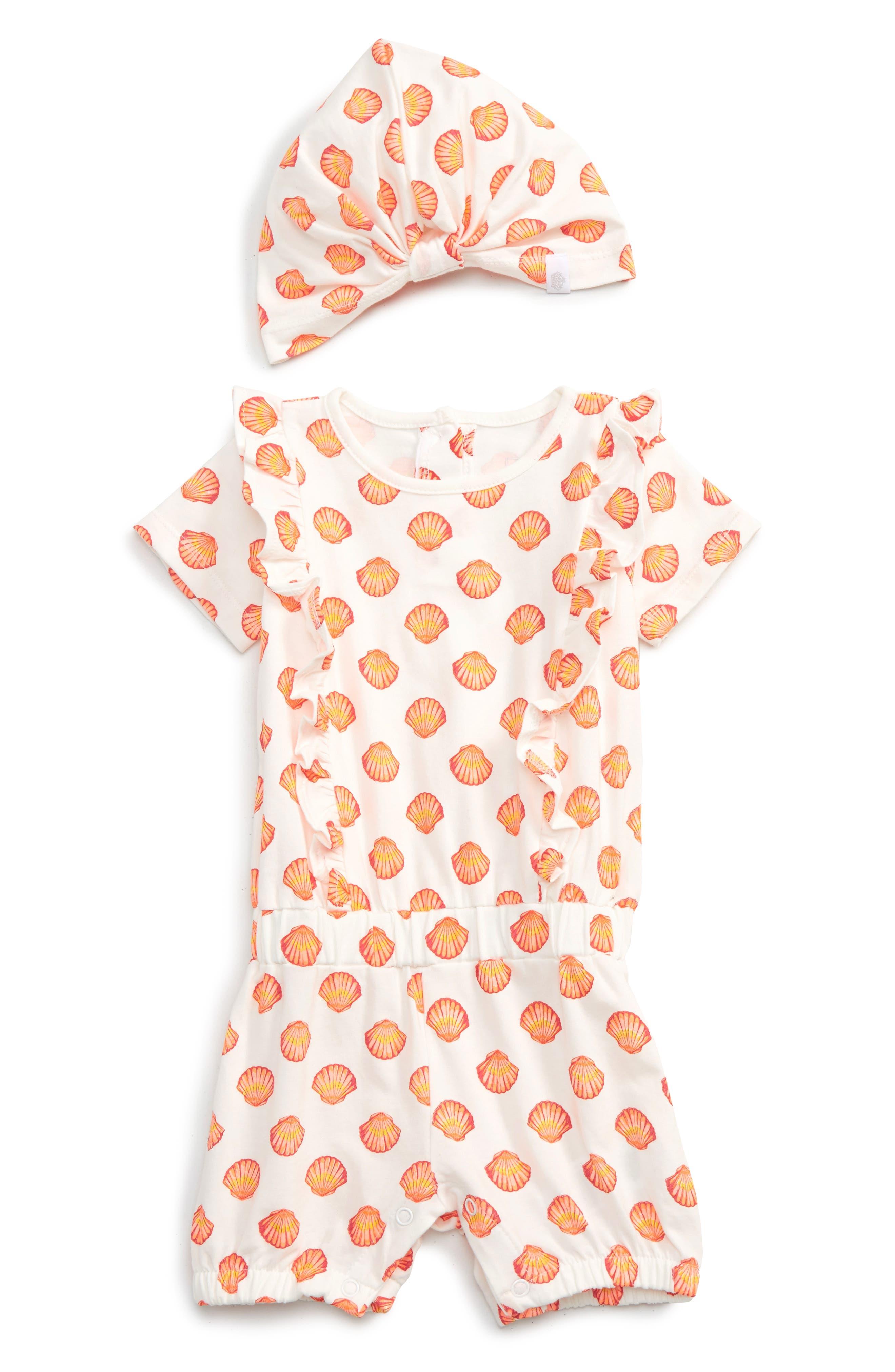 Rosie Pope Seashell Romper & Hat Set (Baby Girls)