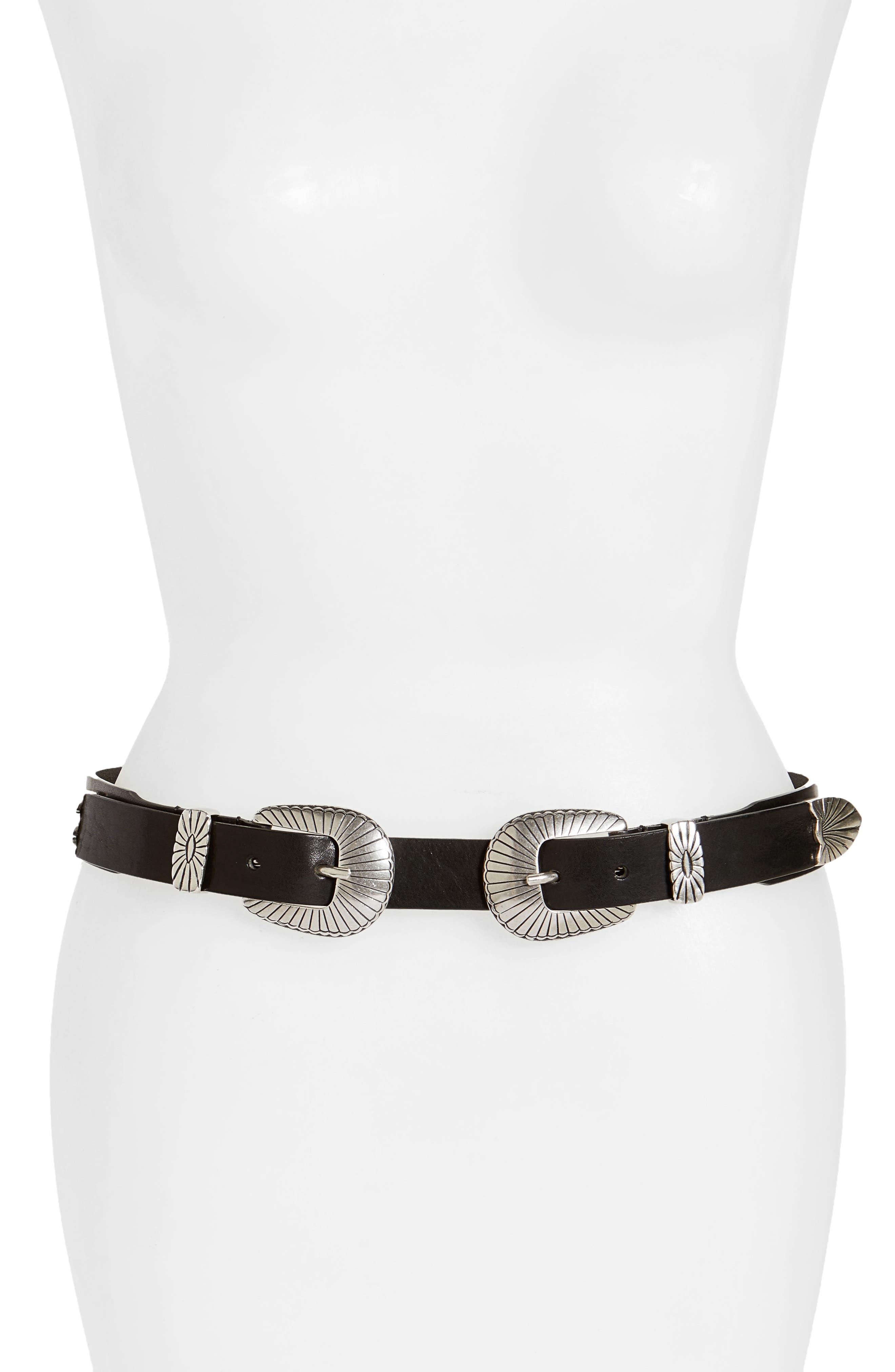 Frye Ellen Double Buckle Leather Belt
