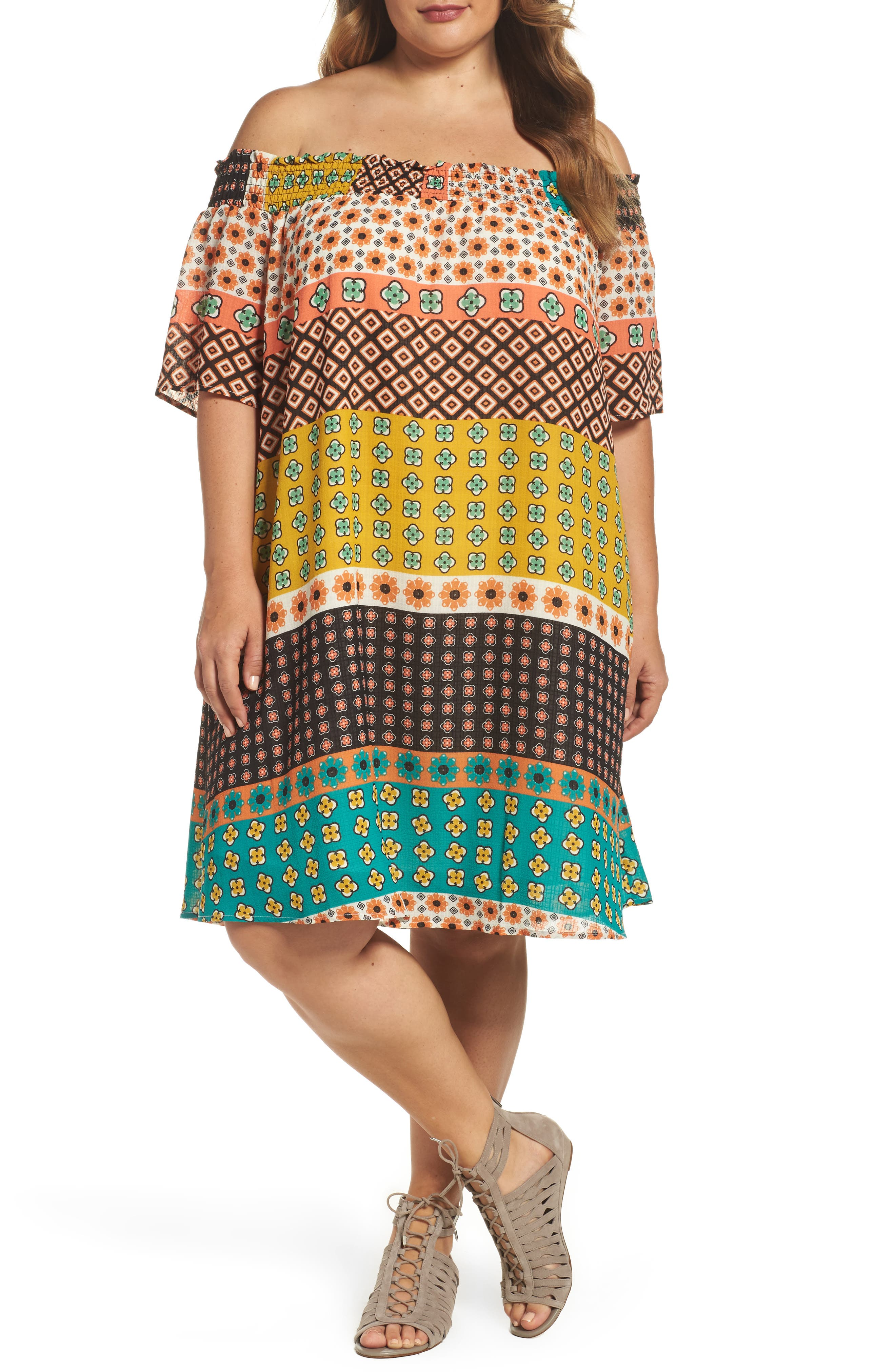 Glamorous Print Off the Shoulder Shift Dress (Plus Size)