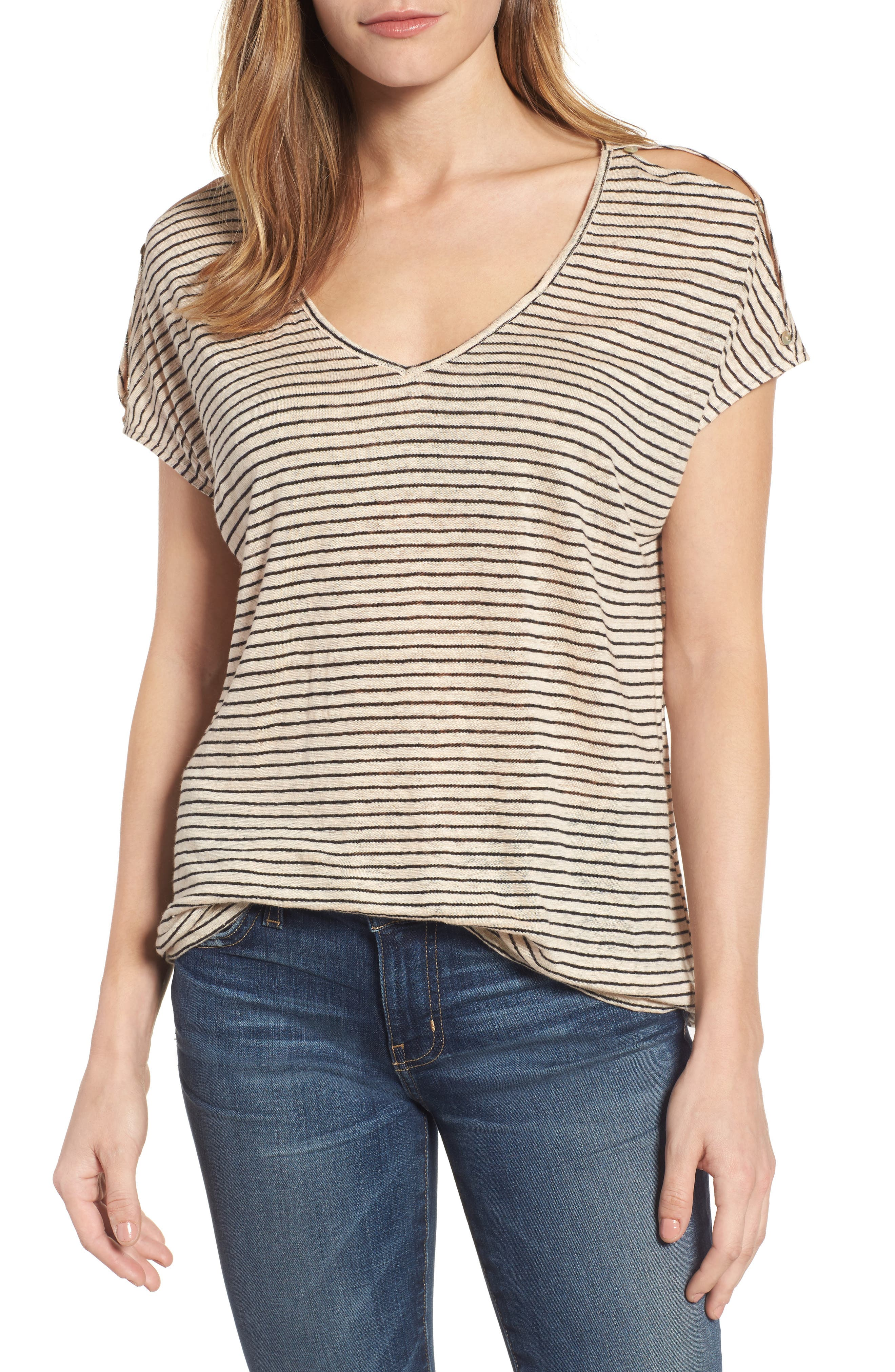 Lucky Brand Cold Shoulder Stripe Linen Tee