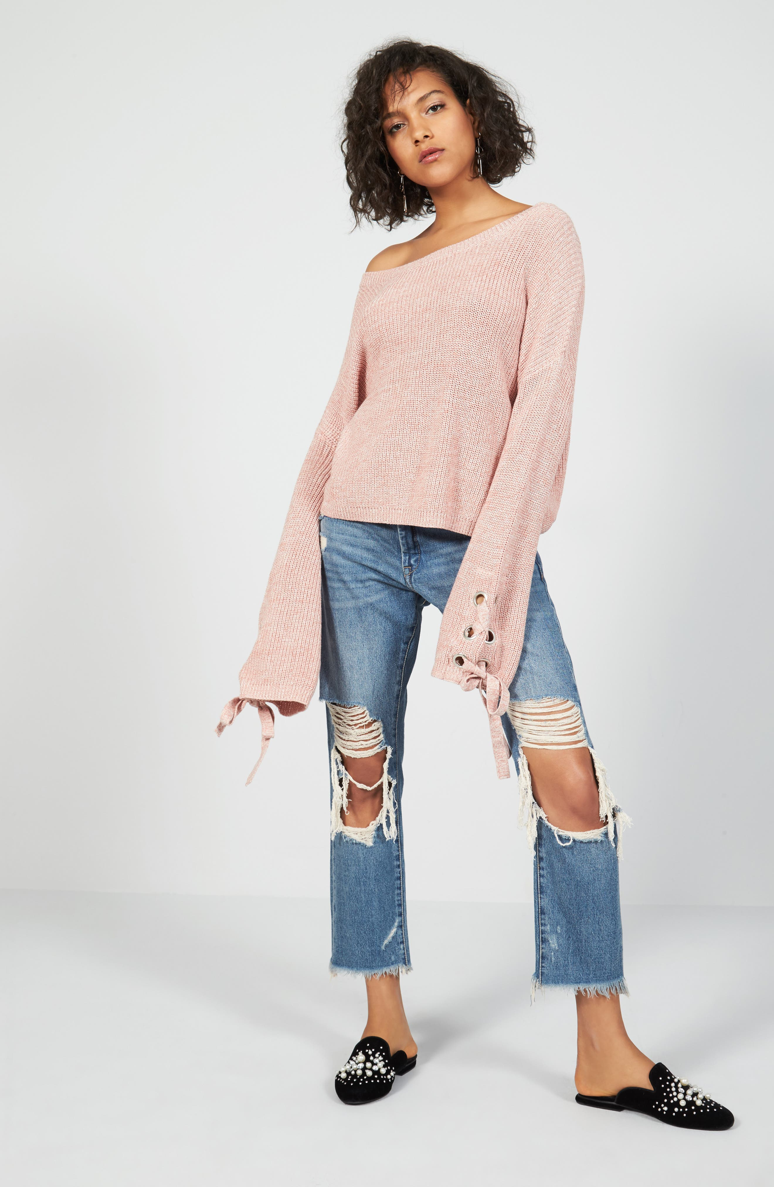 Love By Design Pullover & BLANKNYC Jeans Outfit with Accessories