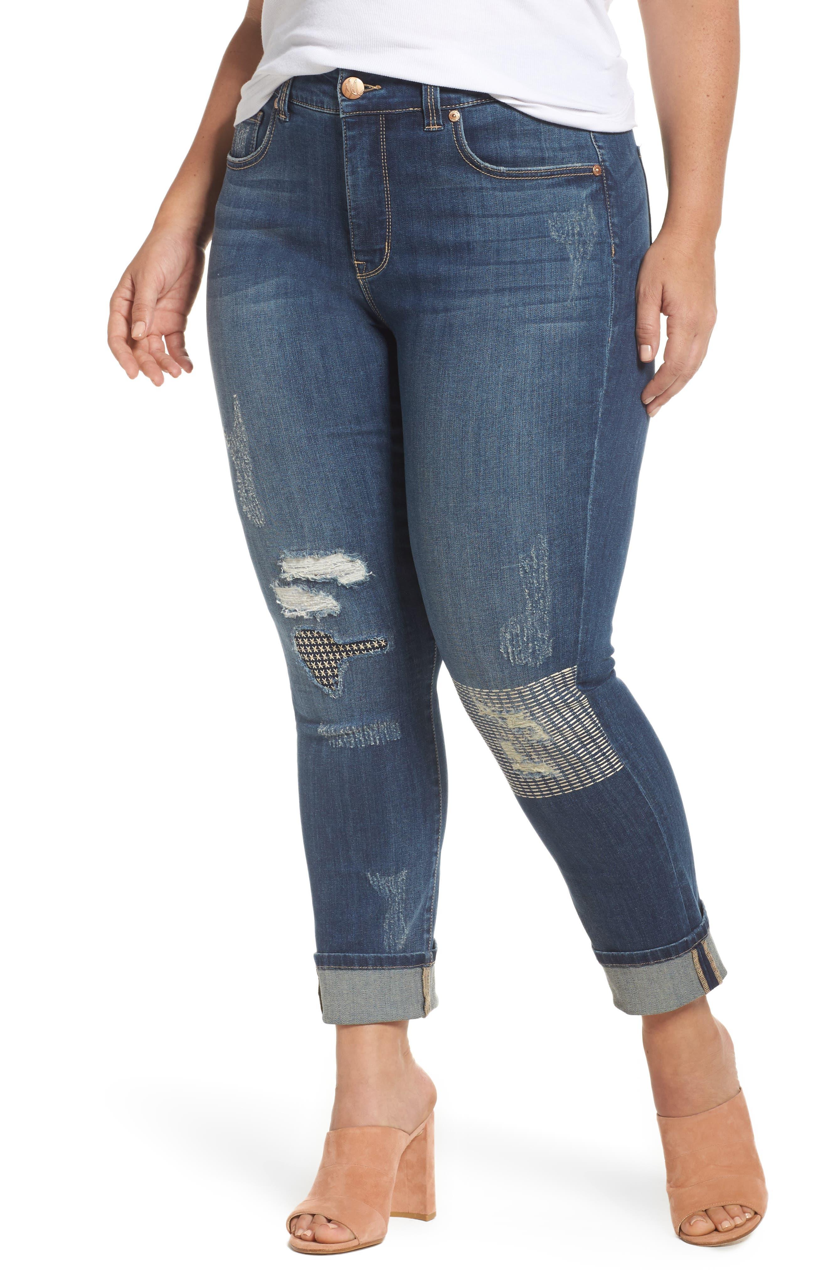 Melissa McCarthy Seven7 Stitch & Repair Roll Cuff Skinny Jeans (Nepal) (Plus Size)