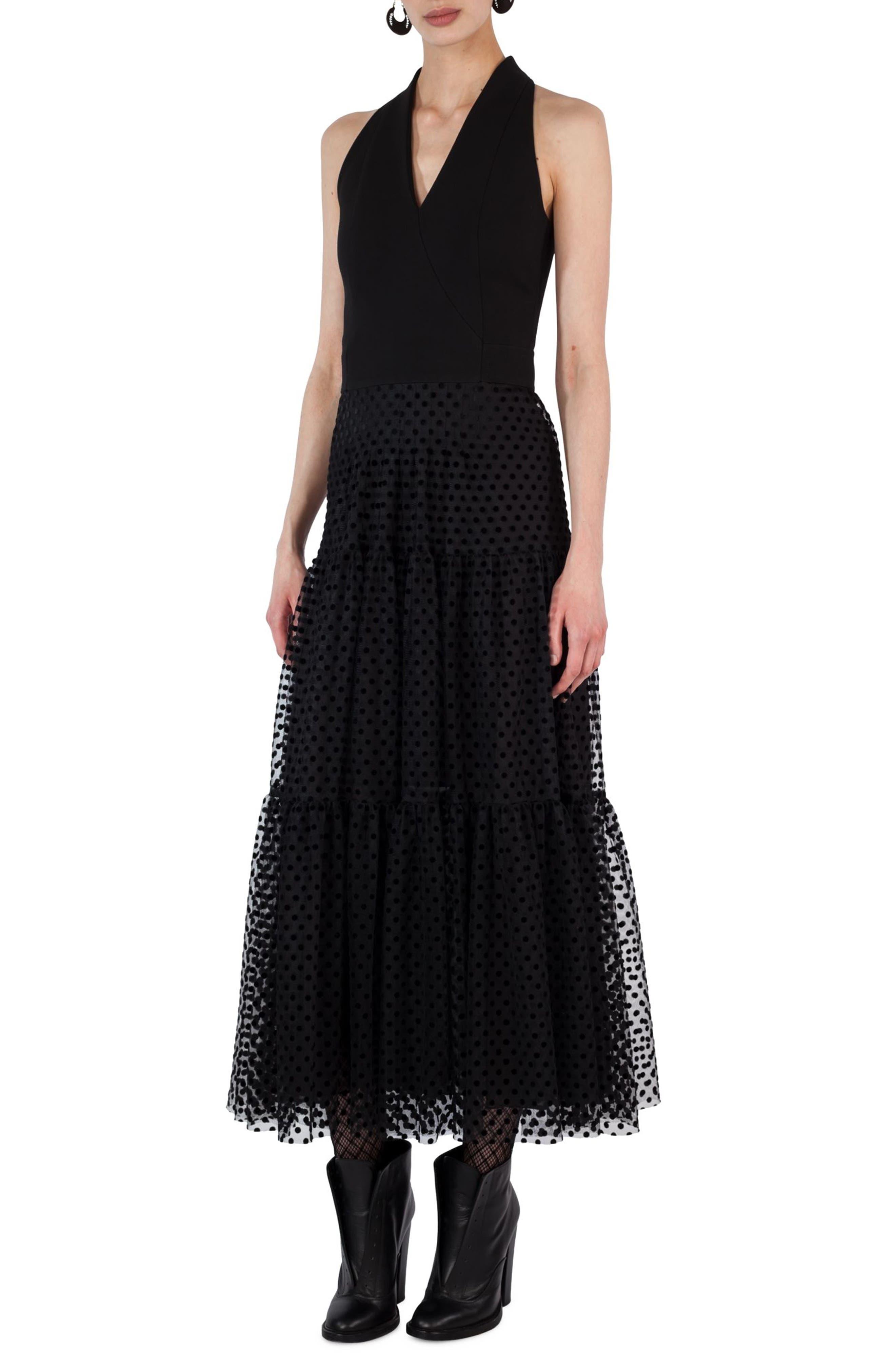 Akris punto Polka Dot Tulle Velvet Maxi Dress