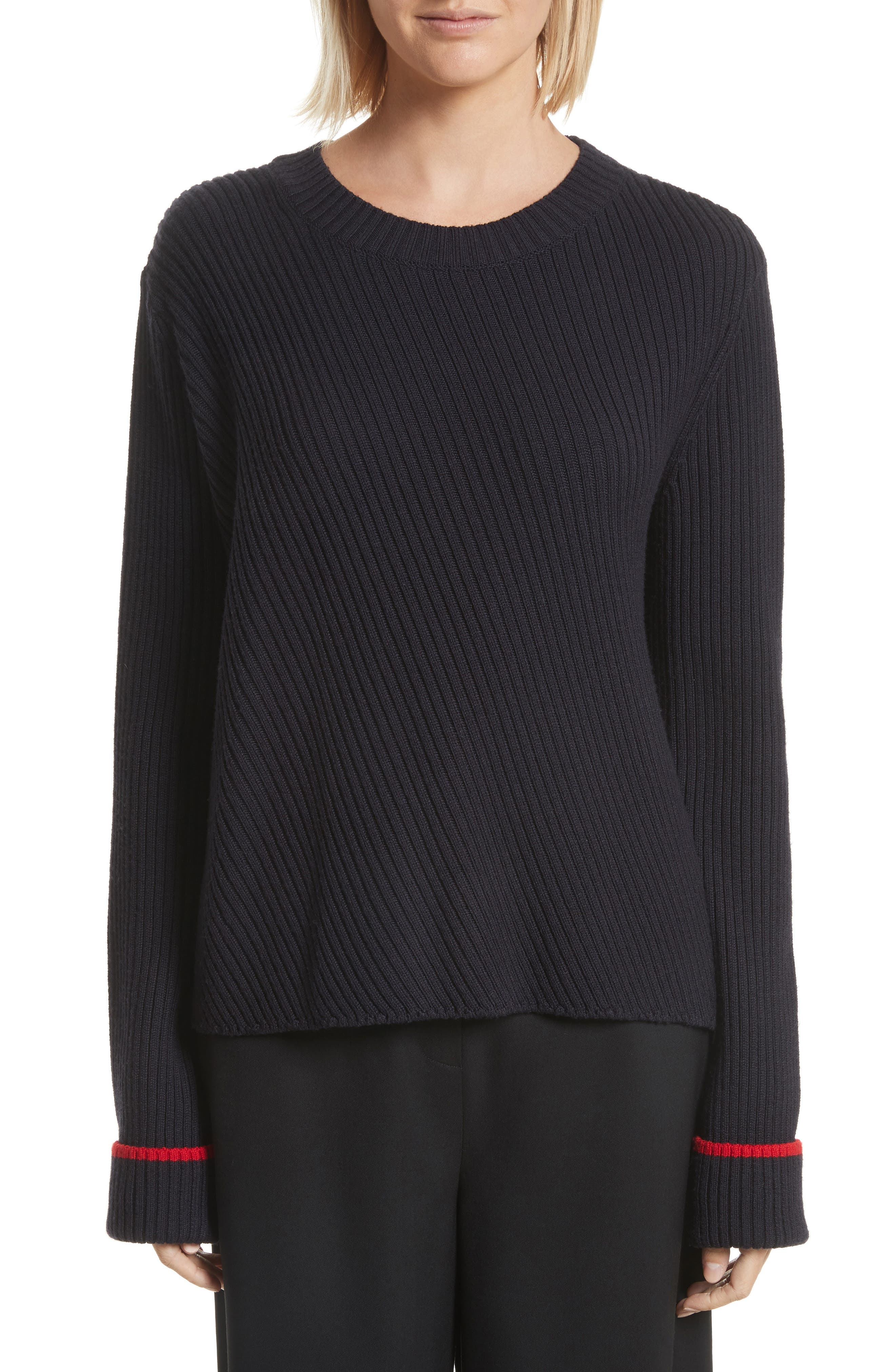 GREY Jason Wu Contrast Trim Merino Wool Sweater